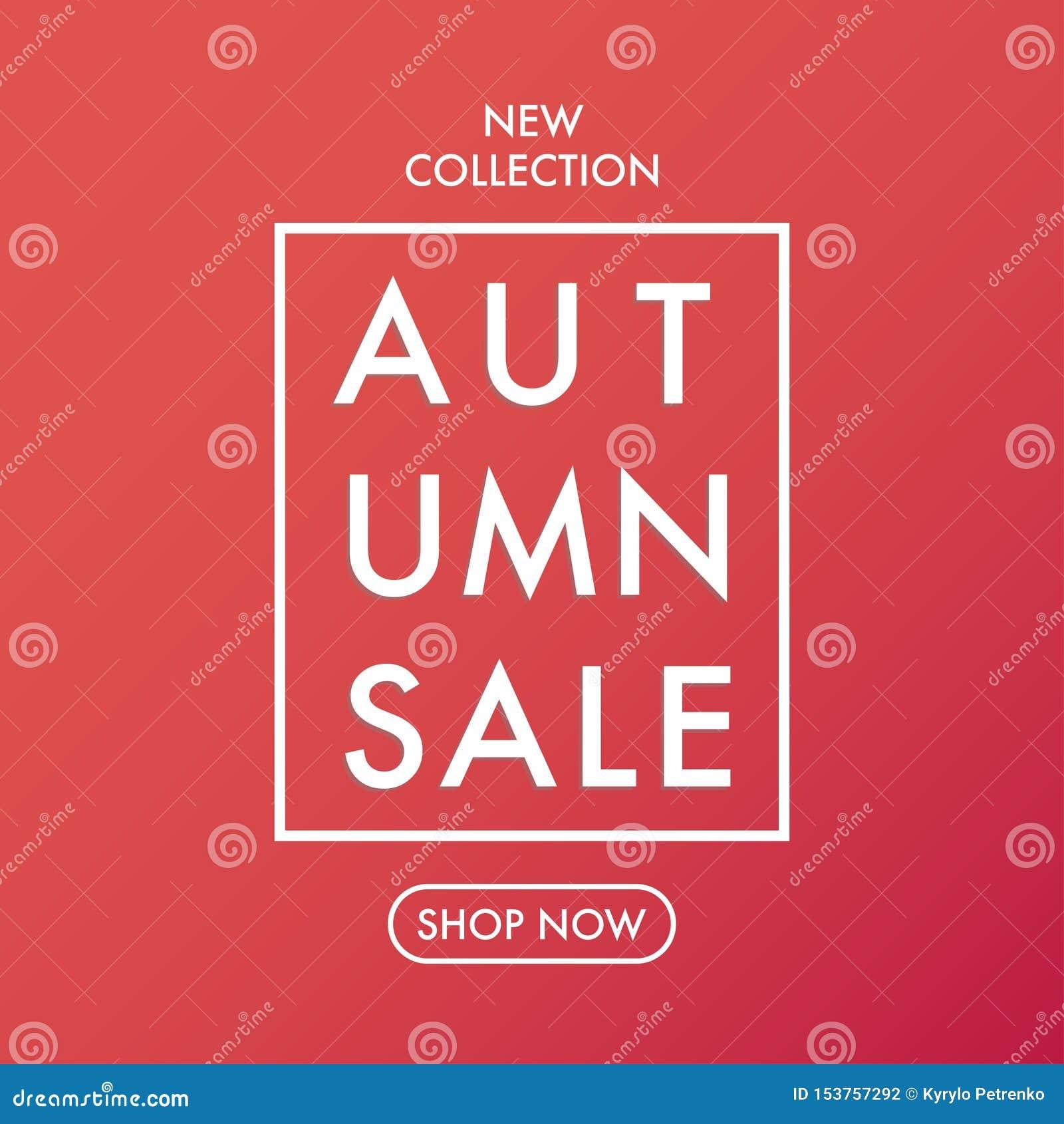 Vettore morbido di colori caldi dell insegna di vendita di autunno