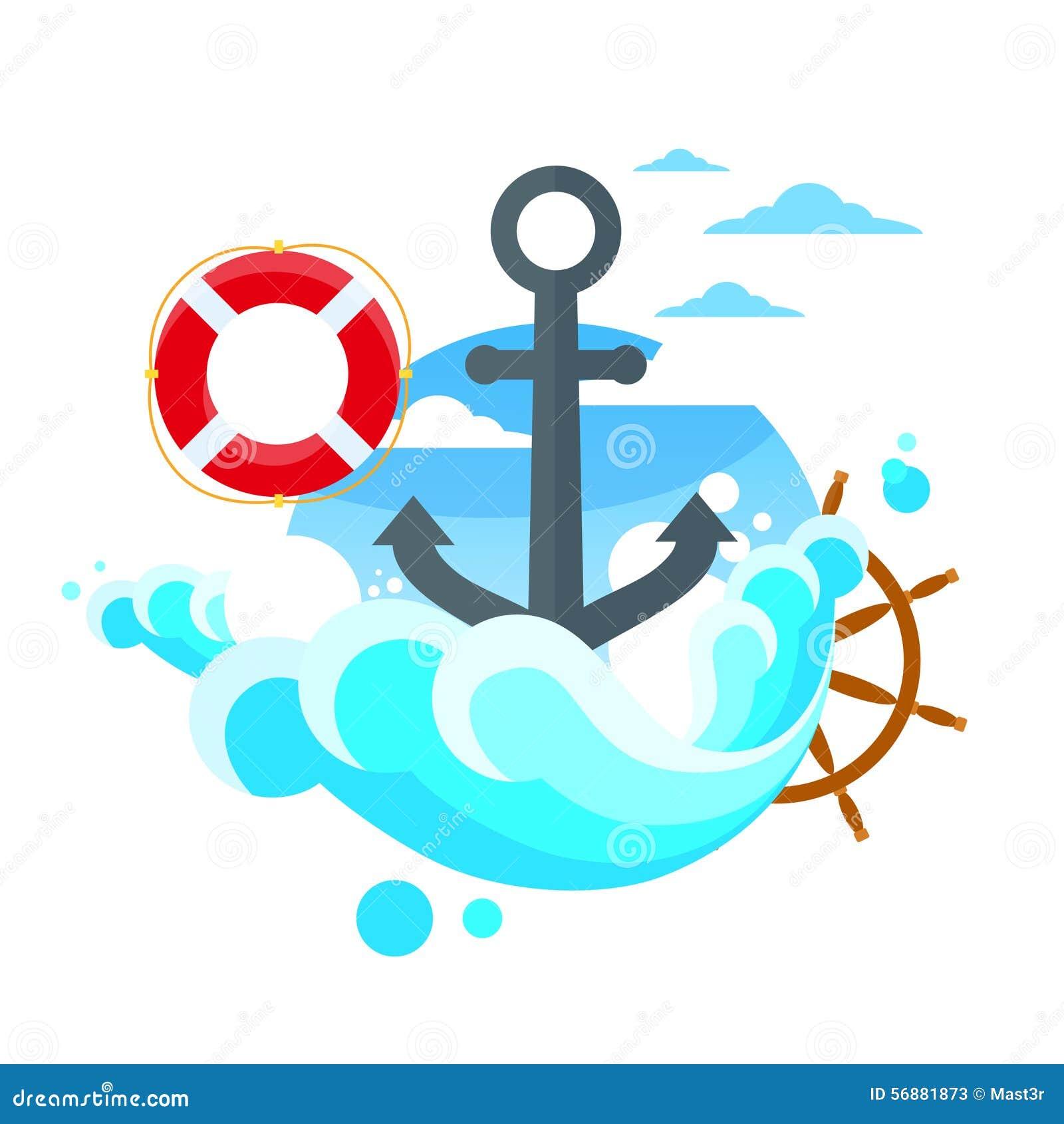 Vettore piano blu del mare del volante dell ancora