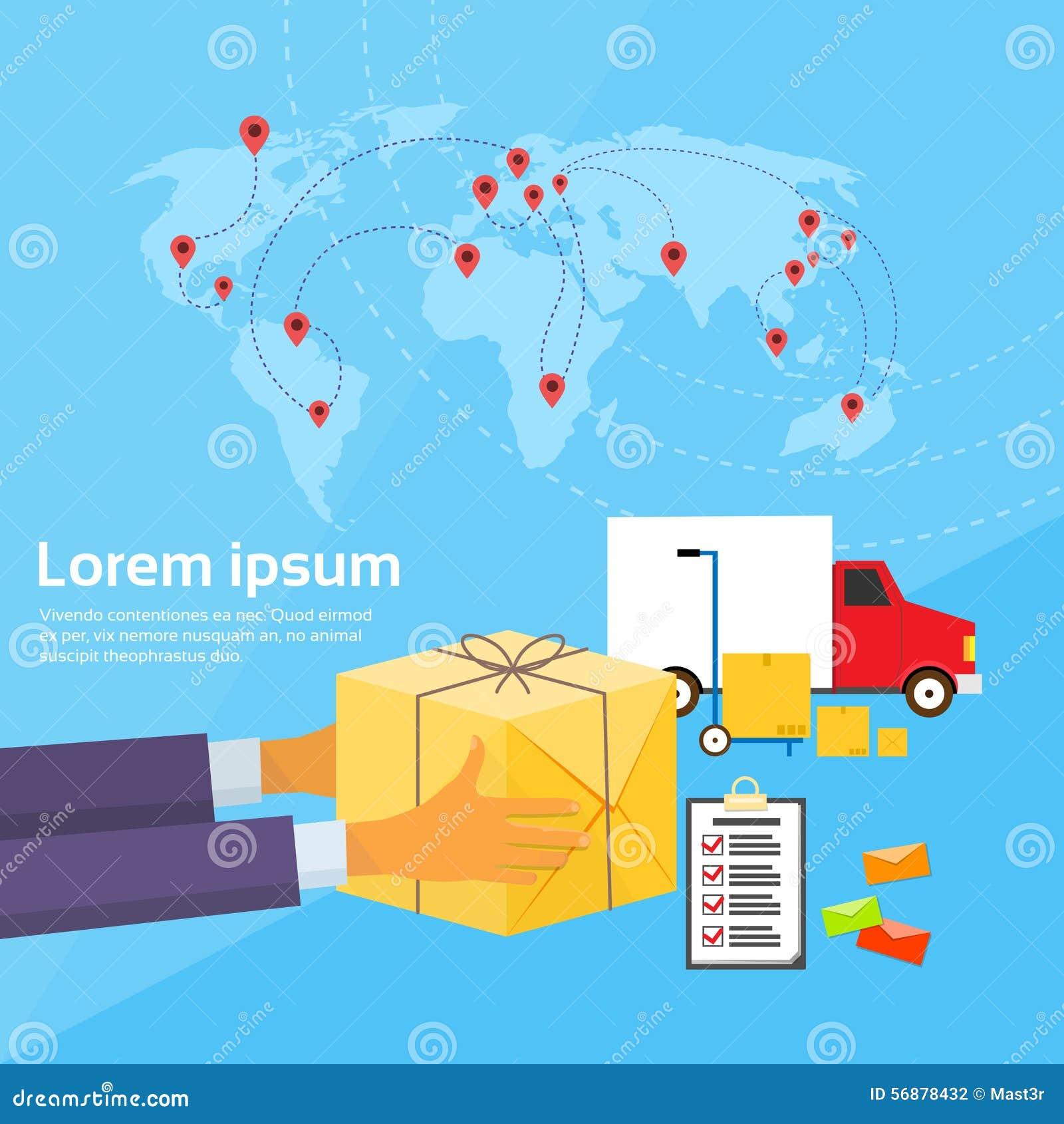 Vettore piano della mappa di mondo del contenitore di pacchetto di servizio di distribuzione