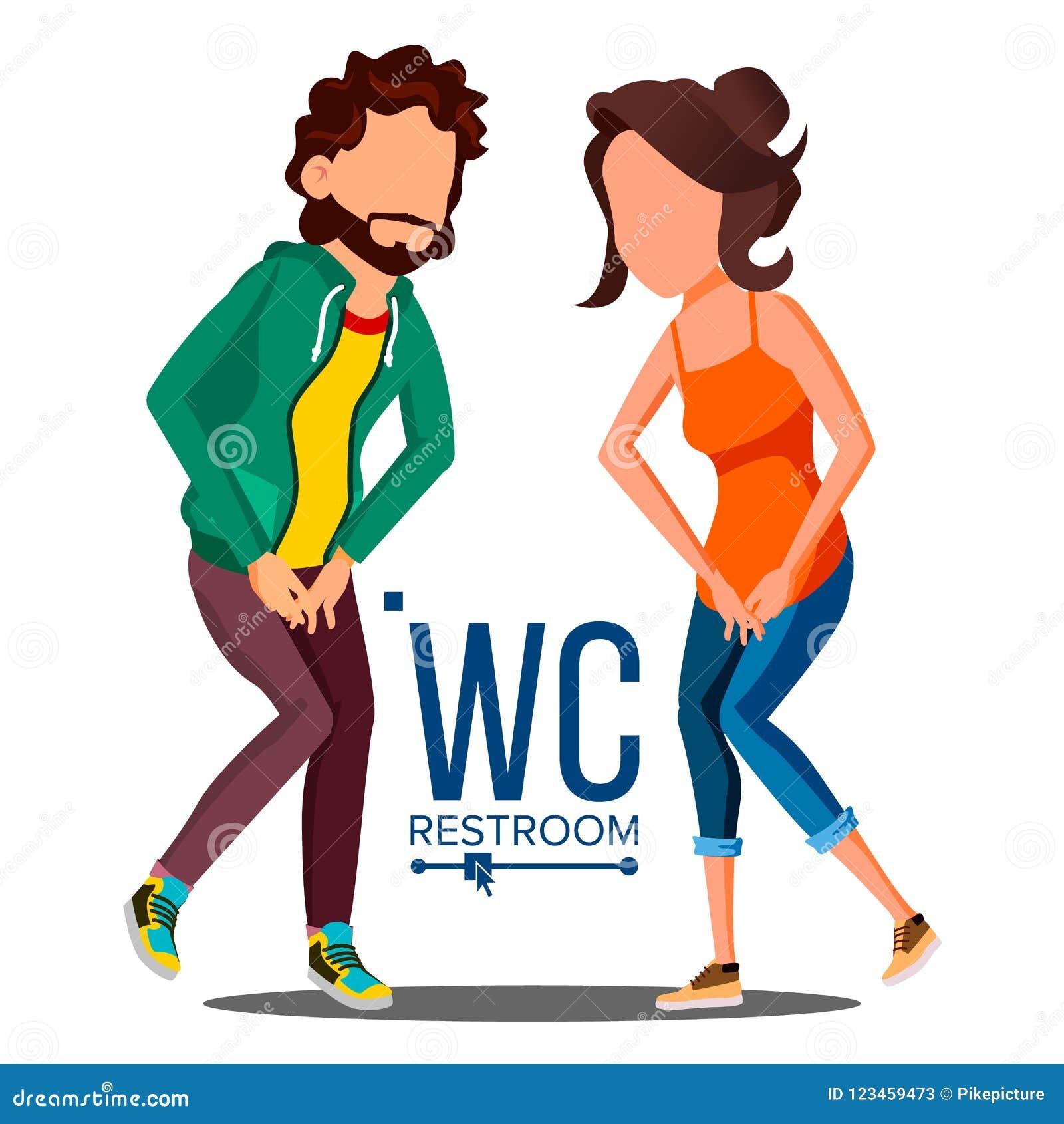 Vettore pubblico del segno del WC Elemento di progettazione del piatto della porta Uomo, donna Simboli del bagno Illustrazione is