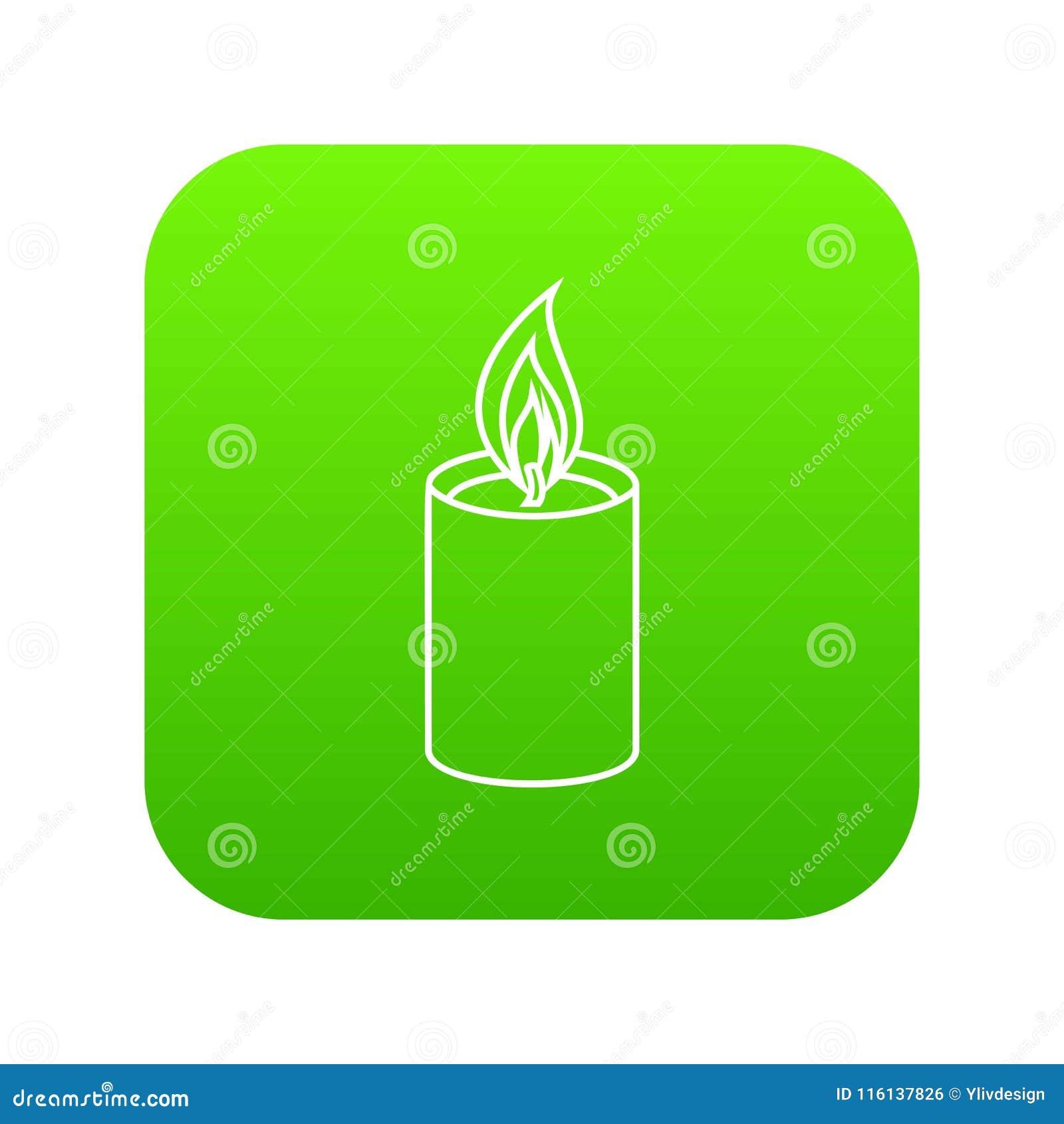 Vettore romanzesco di verde dell icona della candela