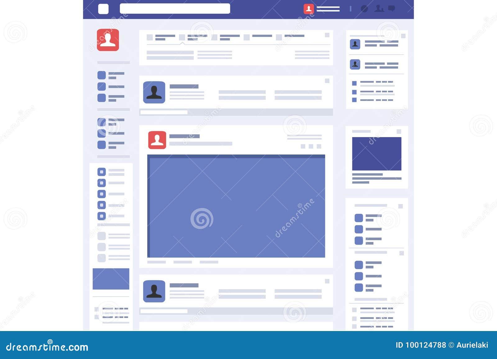 Vettore sociale dell interfaccia della pagina di concetto della pagina Web