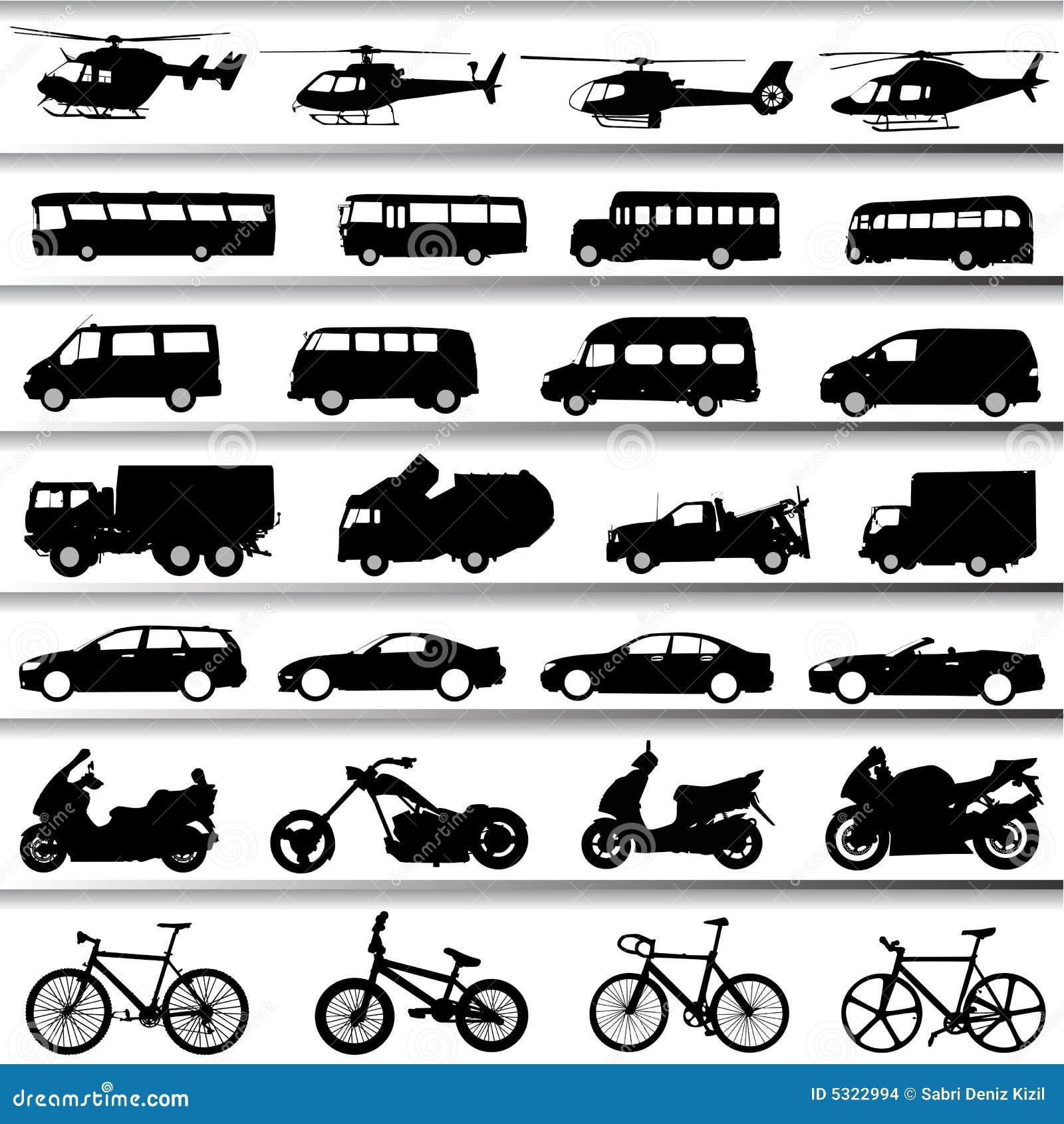 Download Vettore Stabilito Del Trasporto Illustrazione Vettoriale - Illustrazione di bicicletta, elicottero: 5322994
