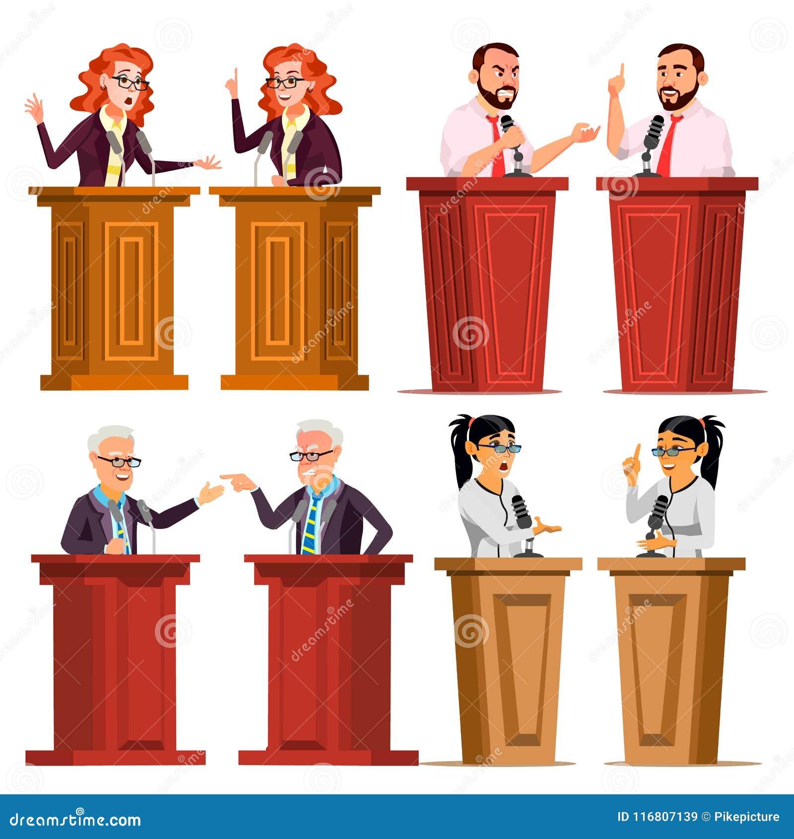 Vettore stabilito dell altoparlante Uomo, donna che dà discorso pubblico Uomo d affari, Politico dibattiti presentazione Piano is