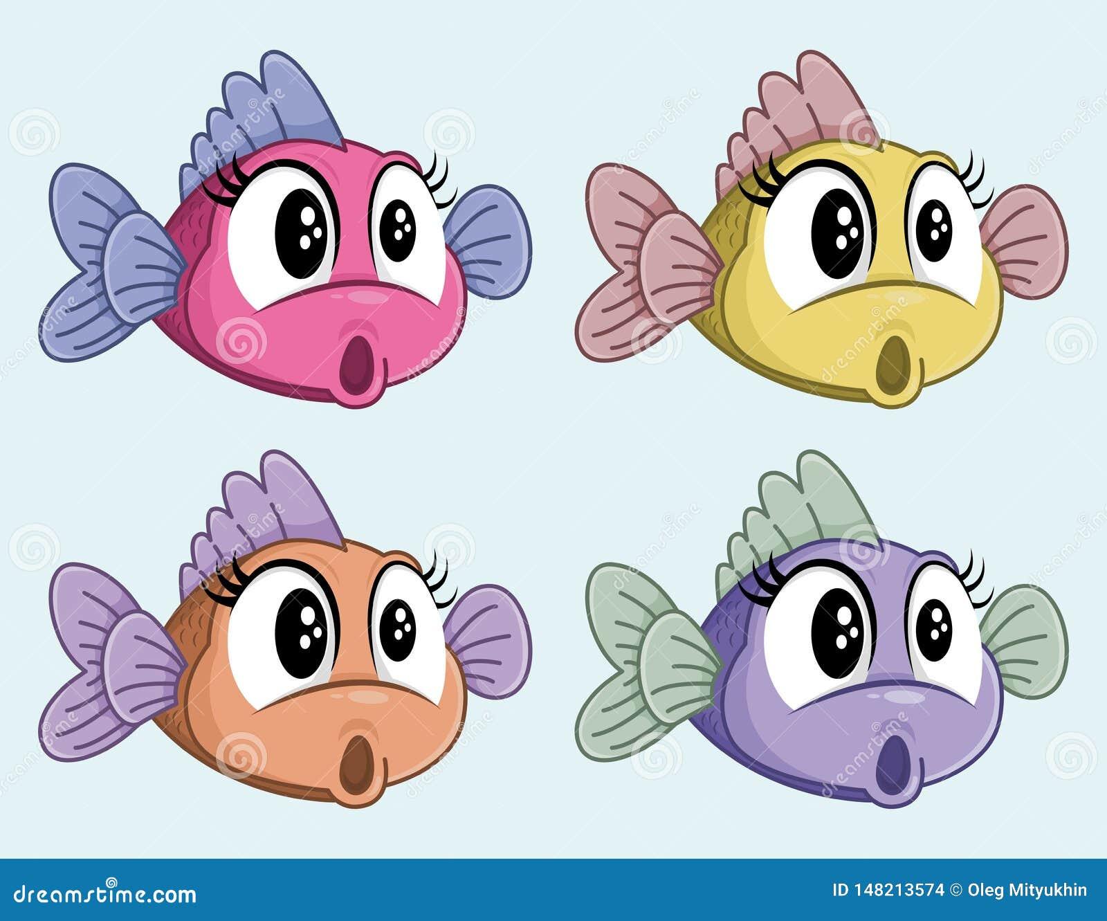 Vettore sveglio sorpreso per pescare personaggio dei cartoni animati femminile Piccolo pesce colpito divertente Quattro colori