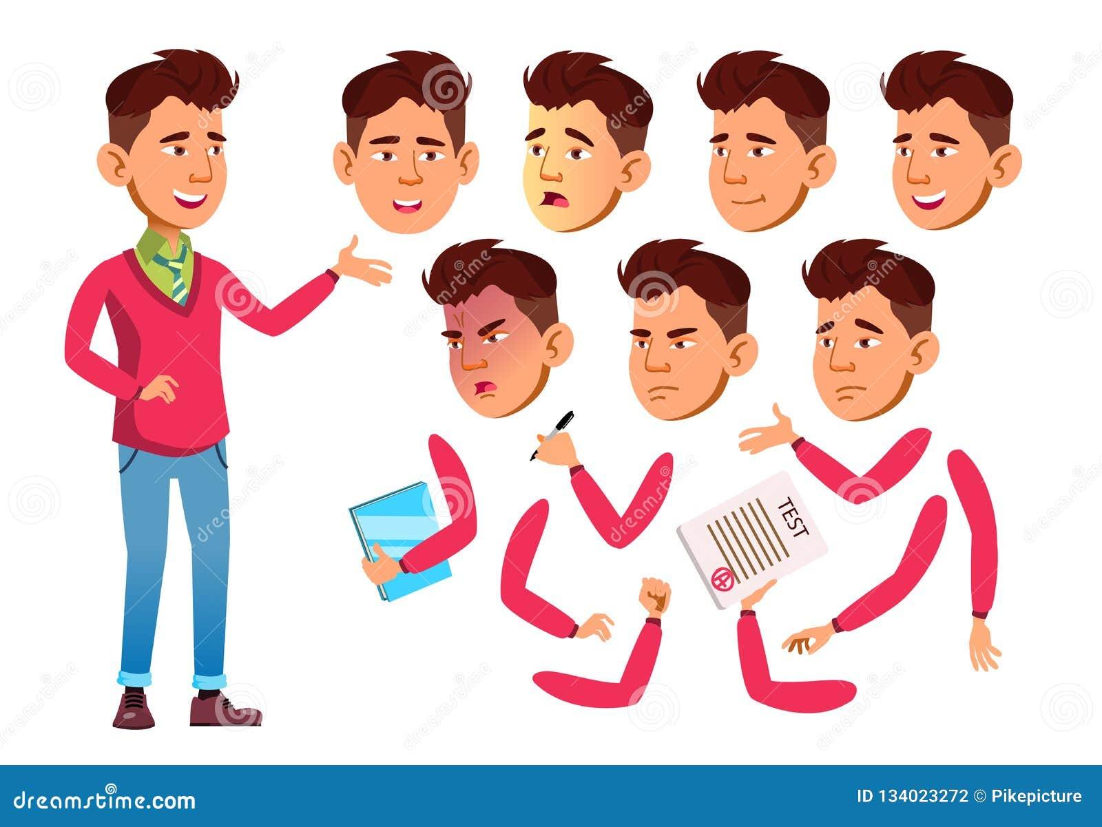 Vettore teenager asiatico del ragazzo adolescente Gente adulta casuale Emozioni del fronte, vari gesti Insieme della creazione di