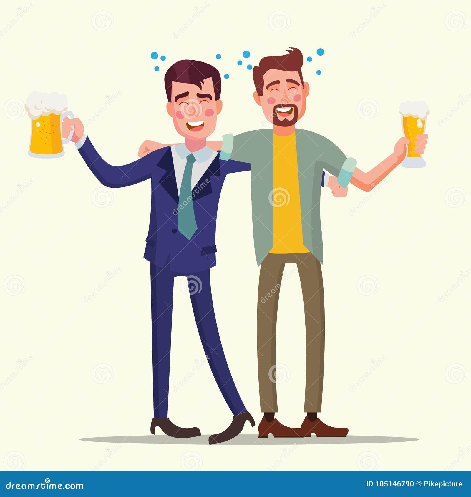 Vettore ubriaco dell uomo dell ufficio Amici divertenti Concetto di distensione Partito di affari