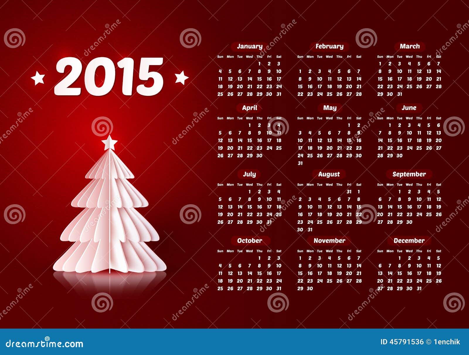Natale Calendario.Vettore Un Calendario Da 2015 Nuovi Anni Con Il Natale Di