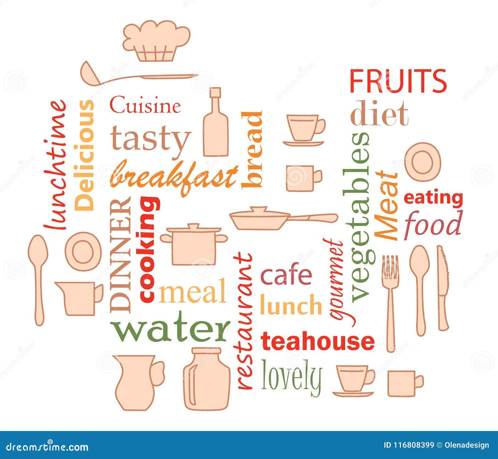 Vettore variopinto - esprima il collage per la cucina con gli elementi dell articolo da cucina