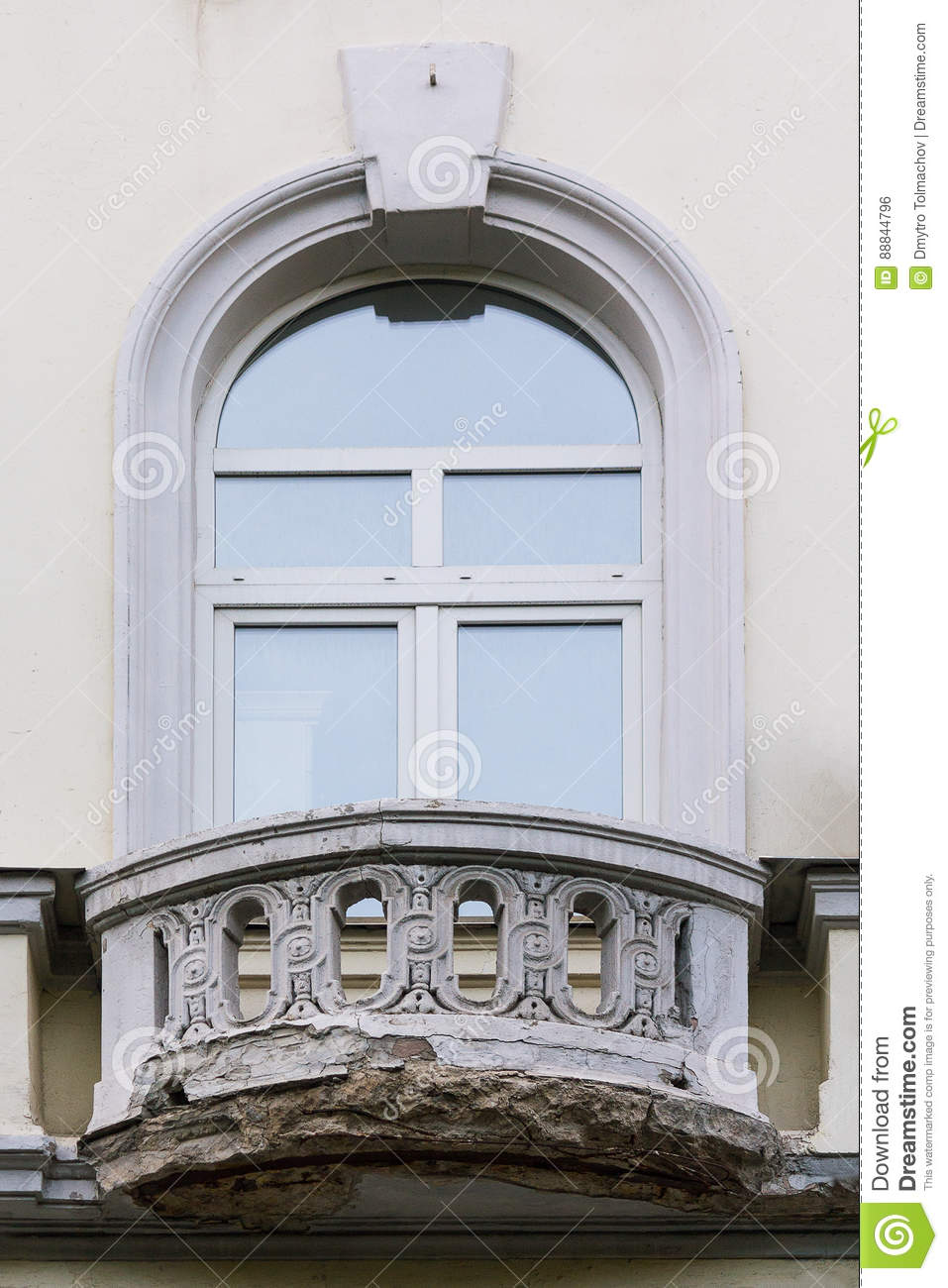 Vew plastic window and an old vintage balcony