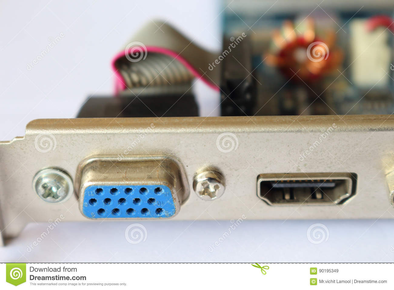VGA Port And HDMI Port On Computer Video Card  Stock Image