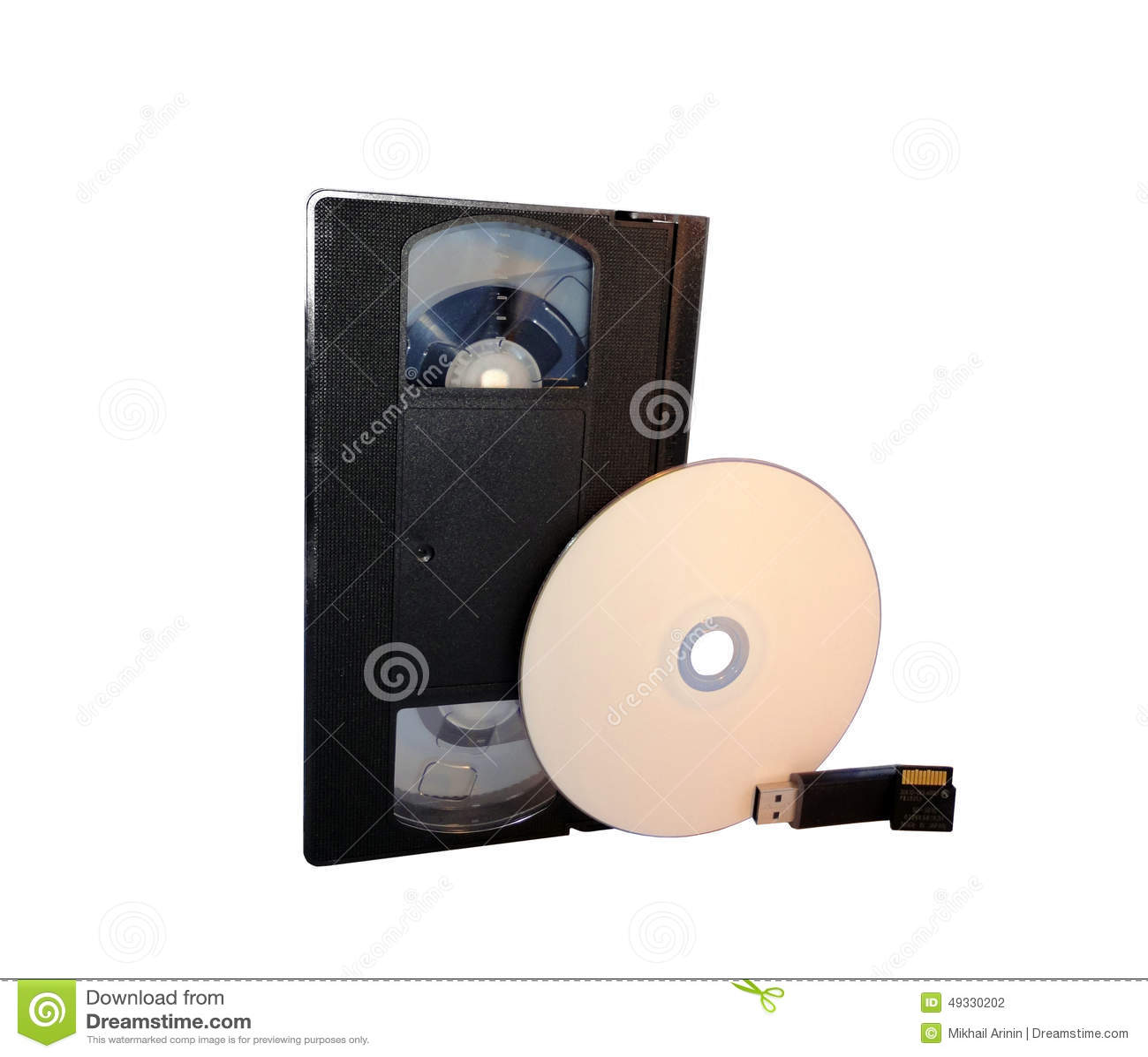 VHS, CD disk, USB flash drive and memory card