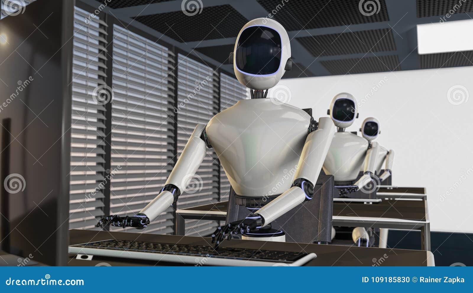 Vi är robotarna, robotar som arbetar i ett kontor