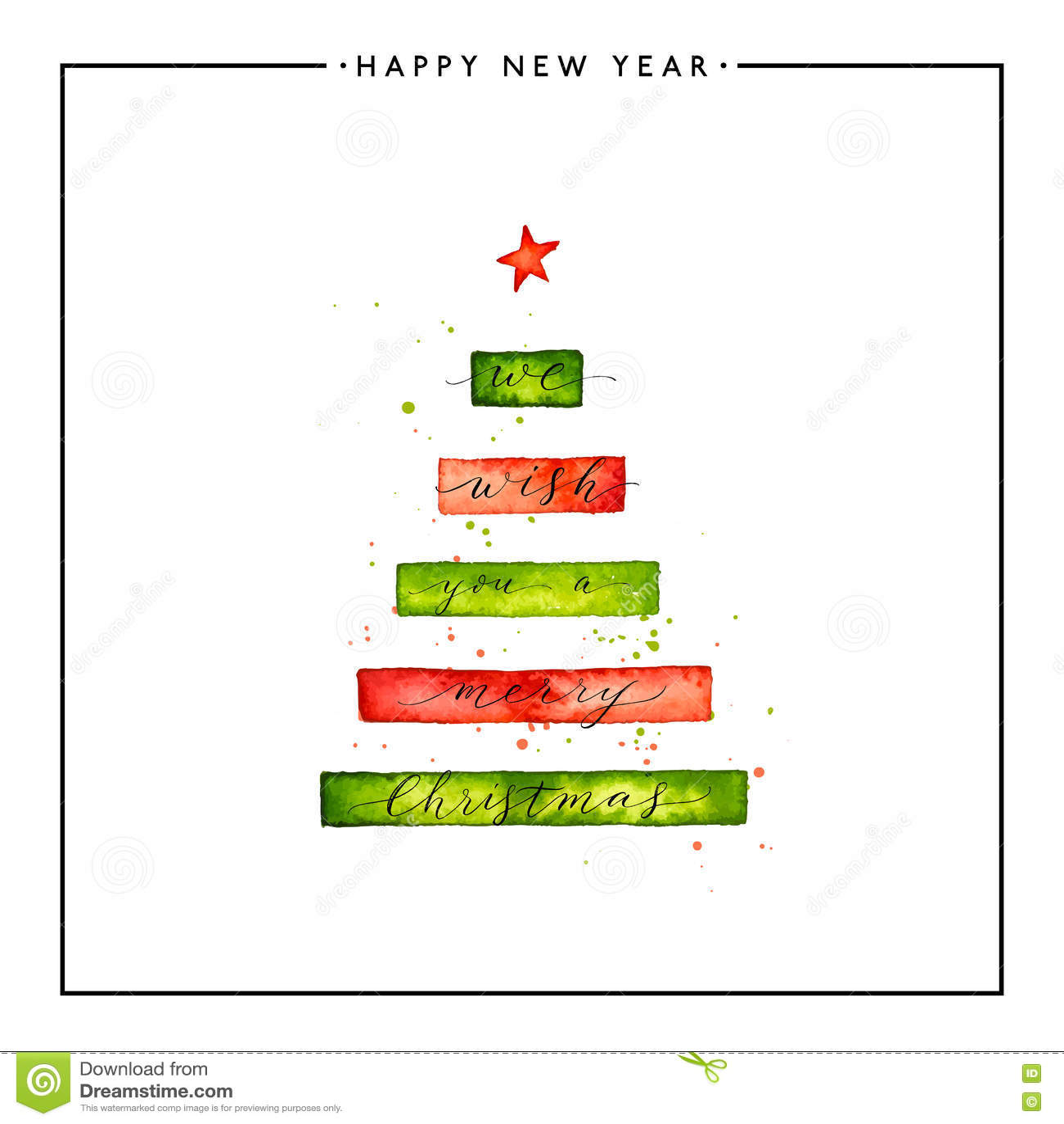 Vi önskar dig en text för glad jul på vattenfärgxmas-träd
