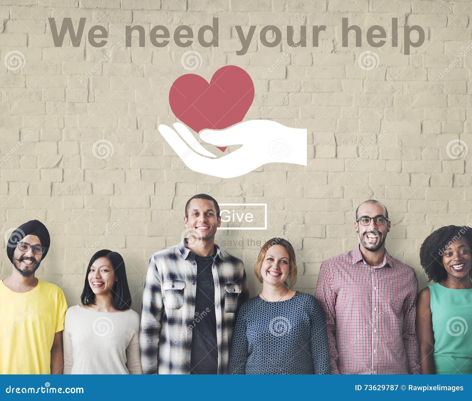 Vi behöver din hjälp donerar begrepp för välgörenhetportionservice
