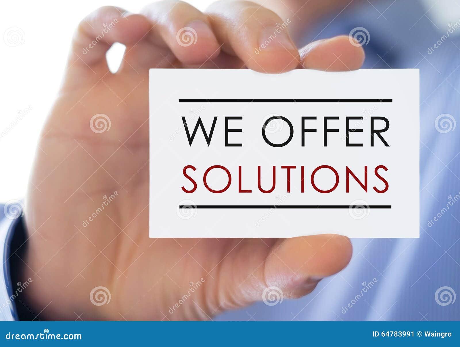 Vi erbjuder lösningar