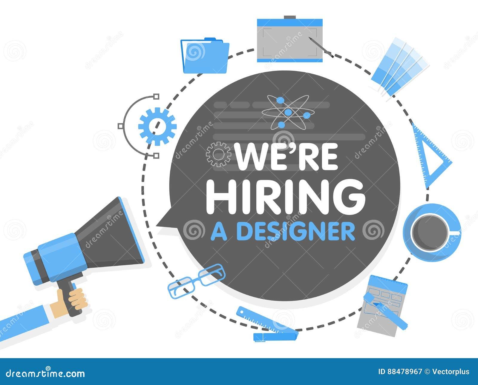 Vi hyr en formgivare Illustration för megafonbegreppsvektor Banermall, annonser, sökande för anställda som hyr graphick