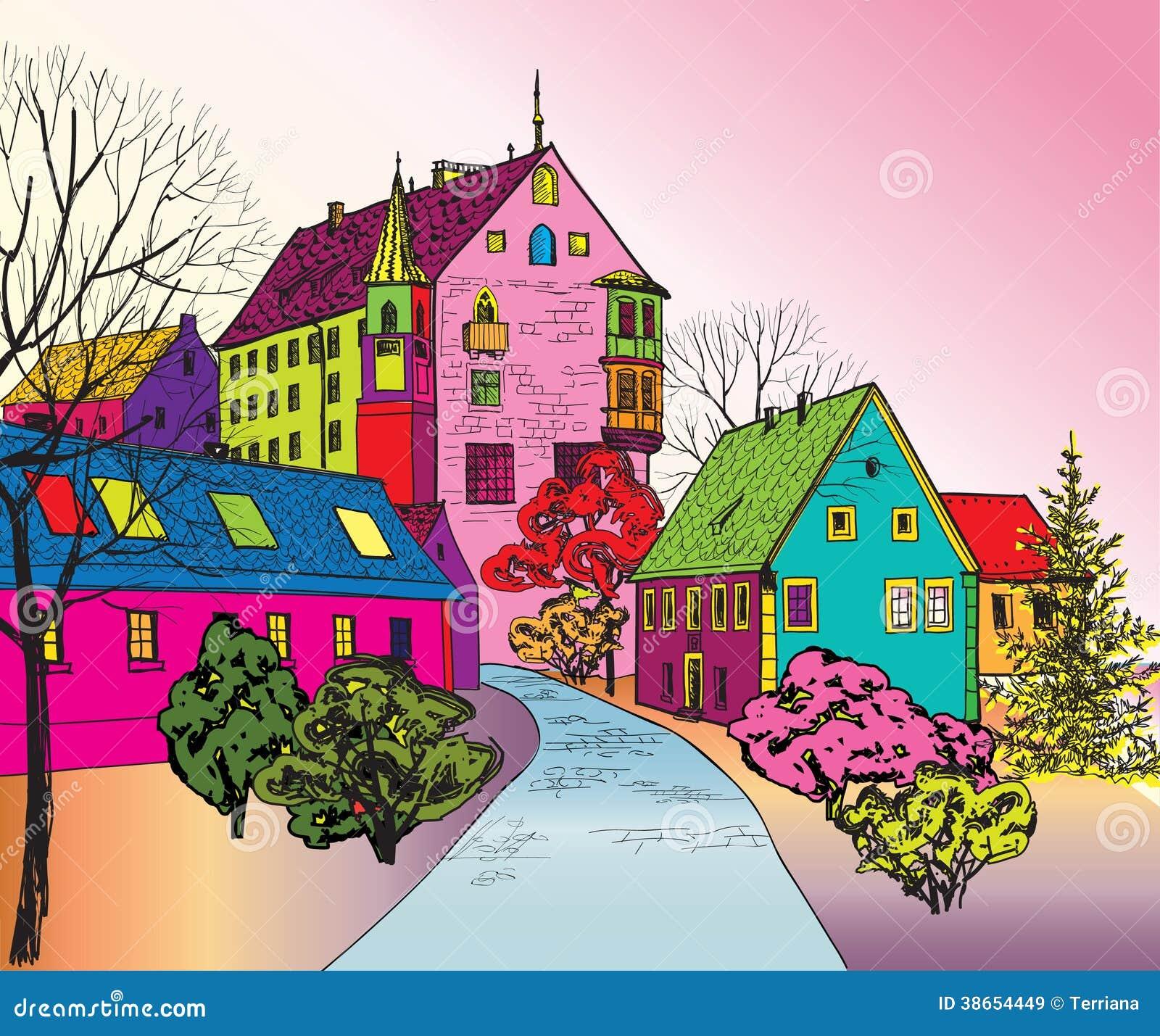 Via accogliente pedonale nella prospettiva illustrazione for Disegni di case in prospettiva