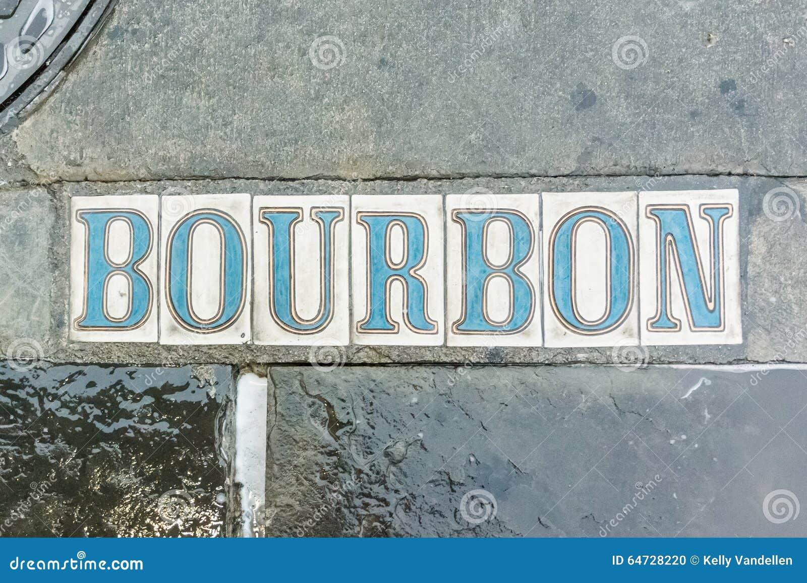 Via di Bourbon nel marciapiede