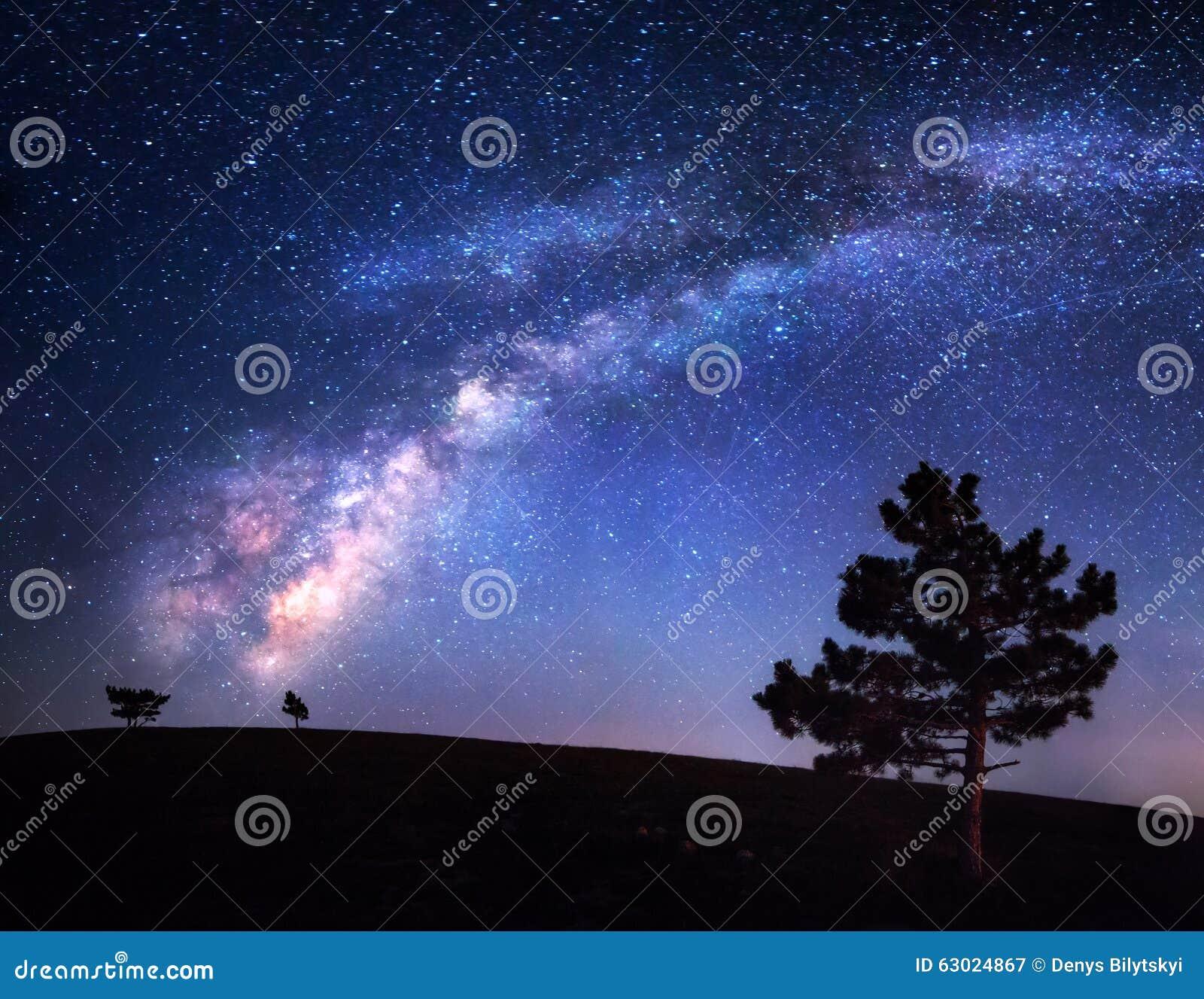 Via Lattea Bello paesaggio di notte Cielo con le stelle Fondo