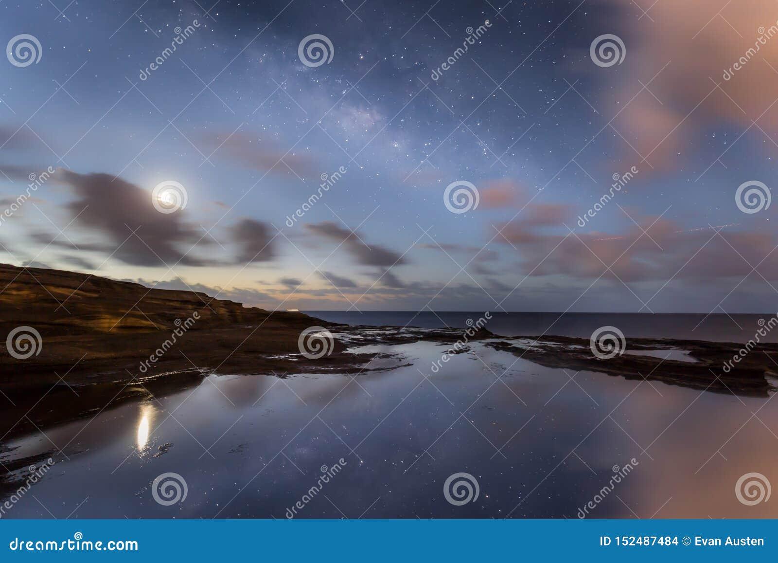 Via Lattea del cielo notturno delle Hawai con le riflessioni dell oceano