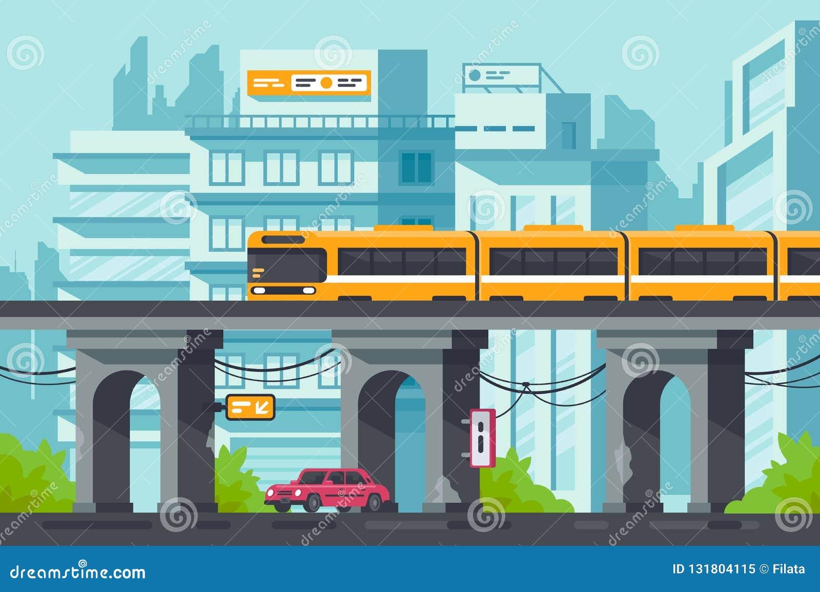 Via piana con la strada e l automobile sotto la metropolitana elevata con il treno elettrico