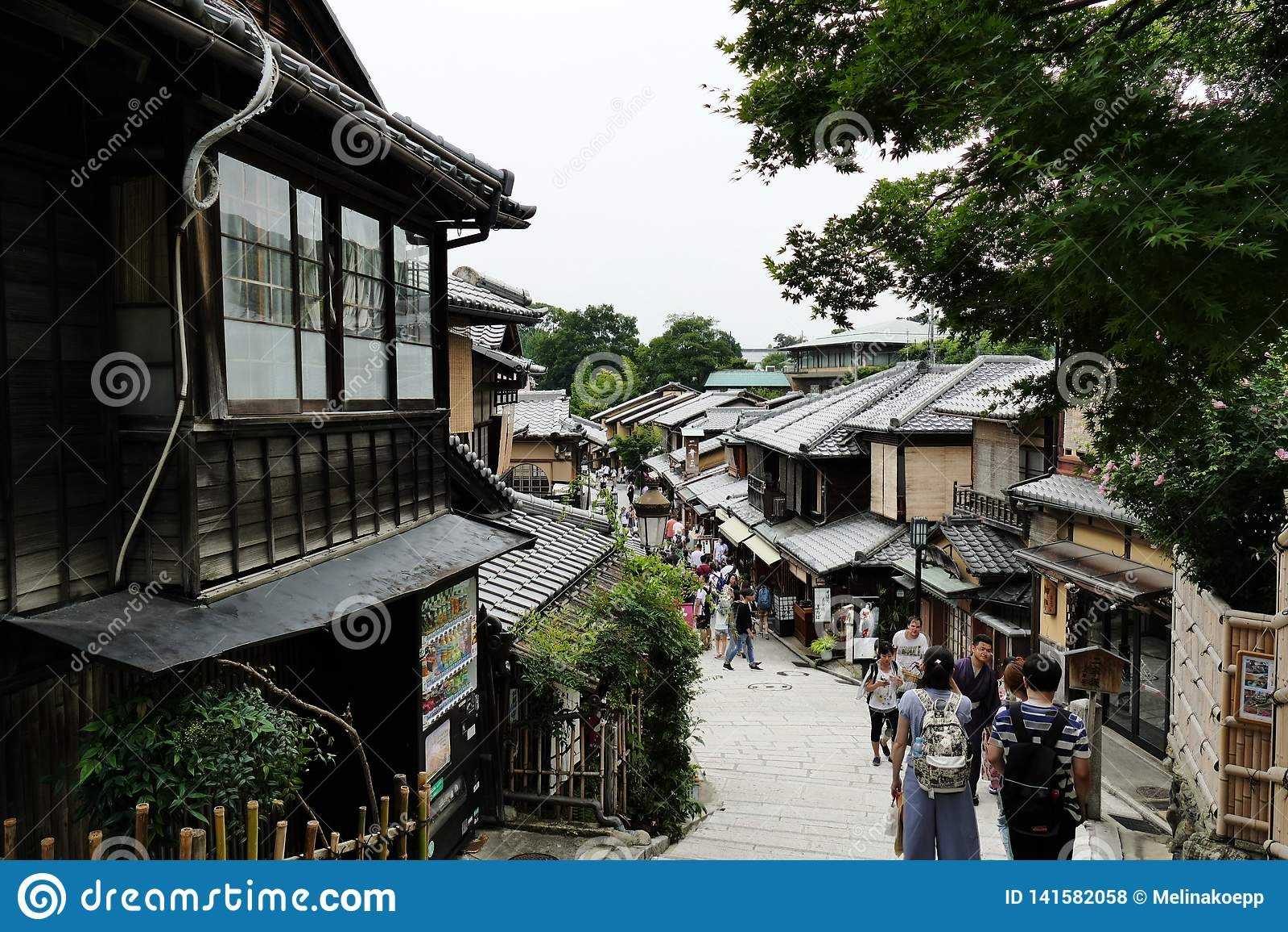 Via popolare ed antica nel distretto di Higashiyama, Kyoto, Giappone