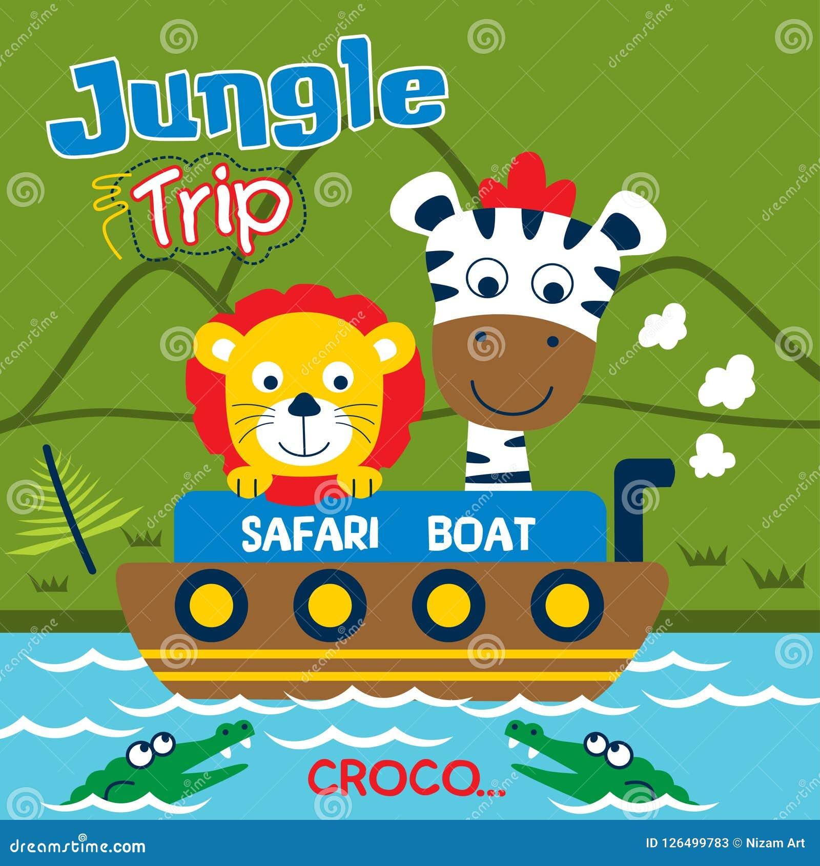 Viagem Do Safari Com Desenhos Animados Engracados Do Leao E Da