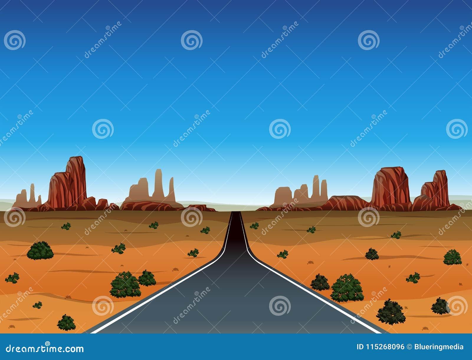 Viagem por estrada através do deserto