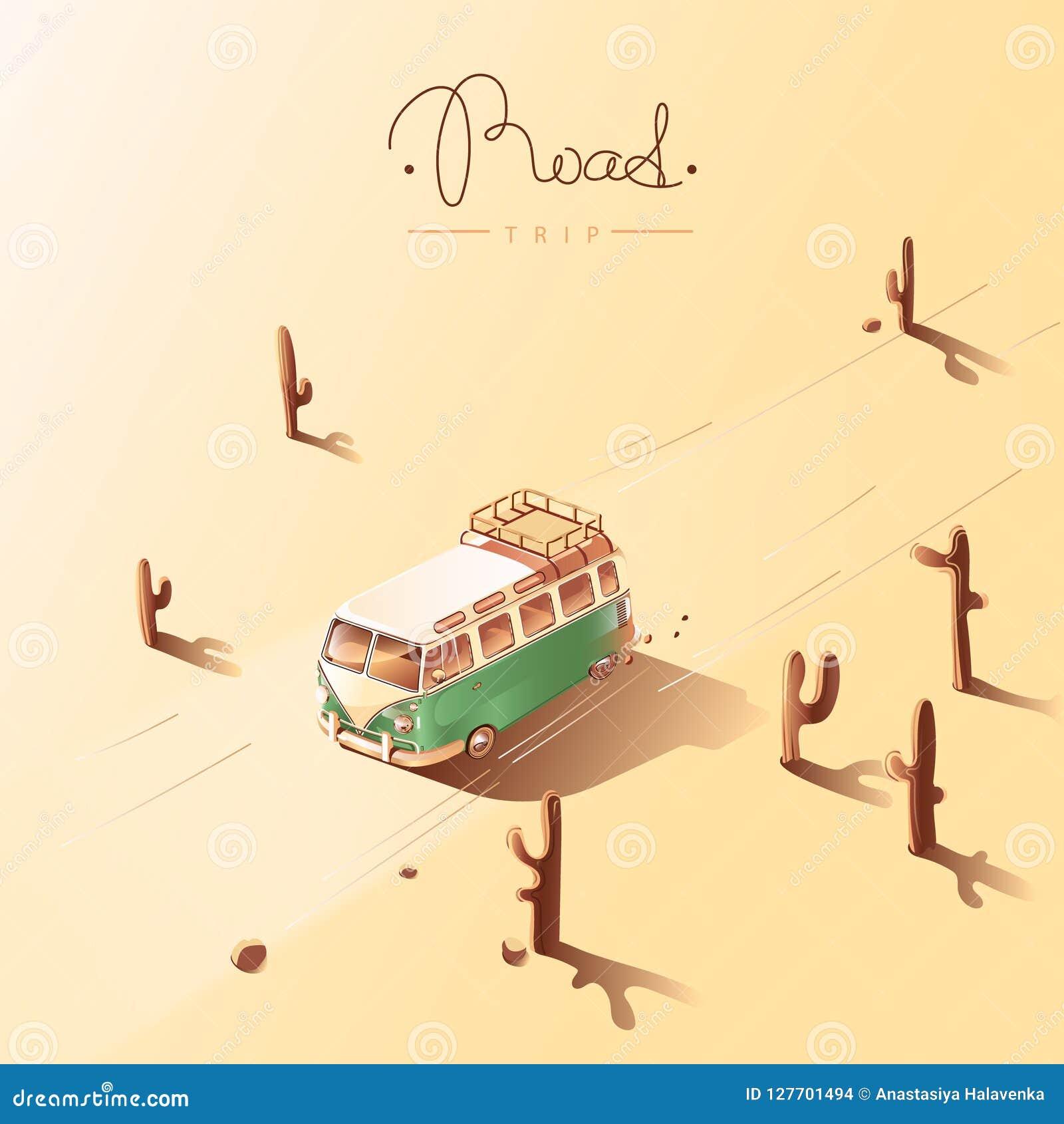 Viagem por estrada pela camionete retro Ilustração do vetor