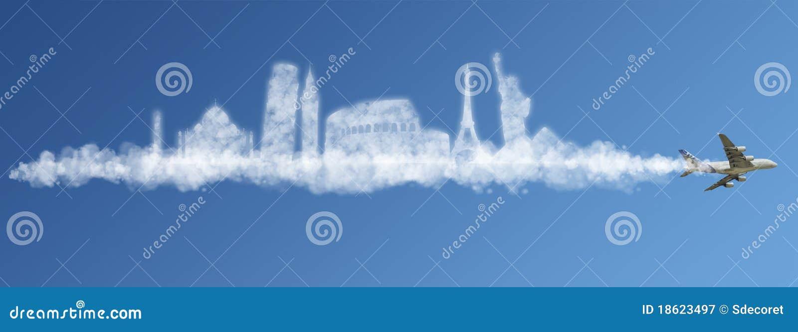 Viaggia il concetto della nube del mondo