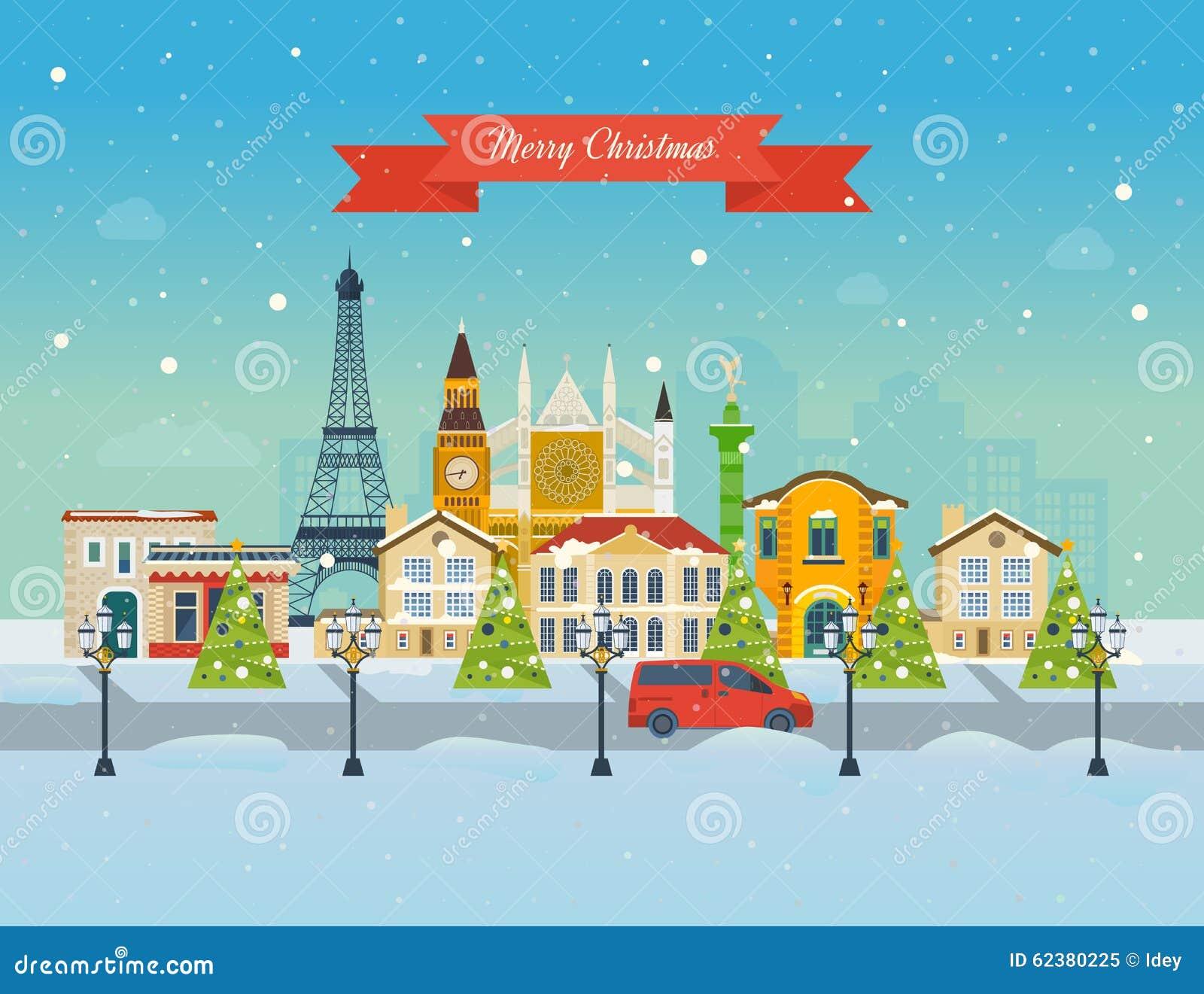 Extrêmement Viaggio Ad Europa Per Natale Buon Natale Illustrazione Vettoriale  AF76