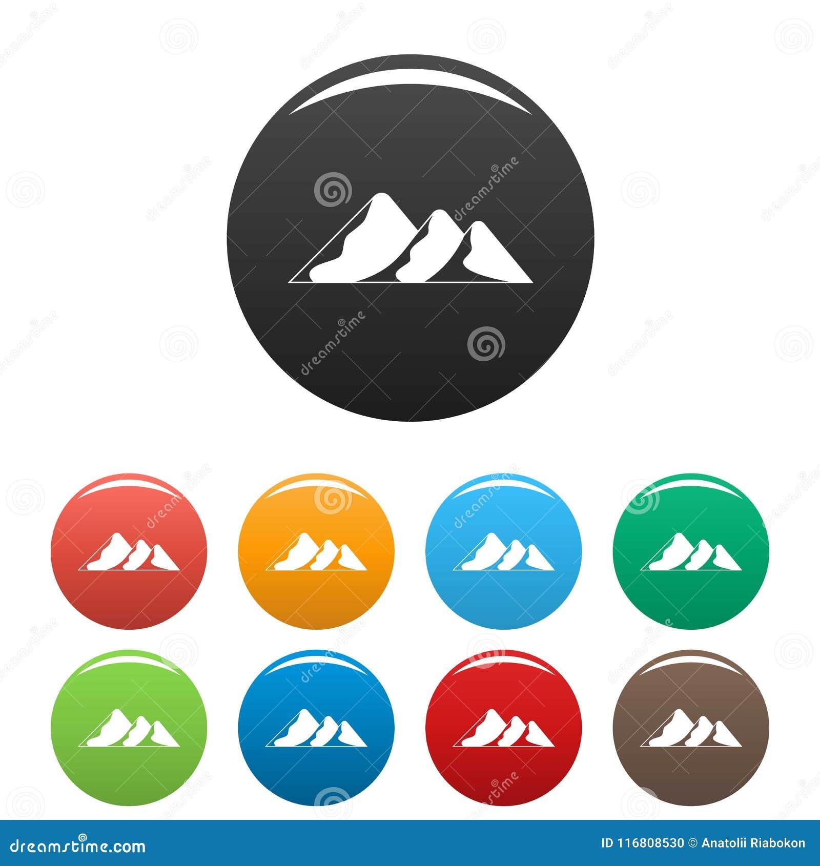 Viaggio al vettore di colore fissato icone della montagna