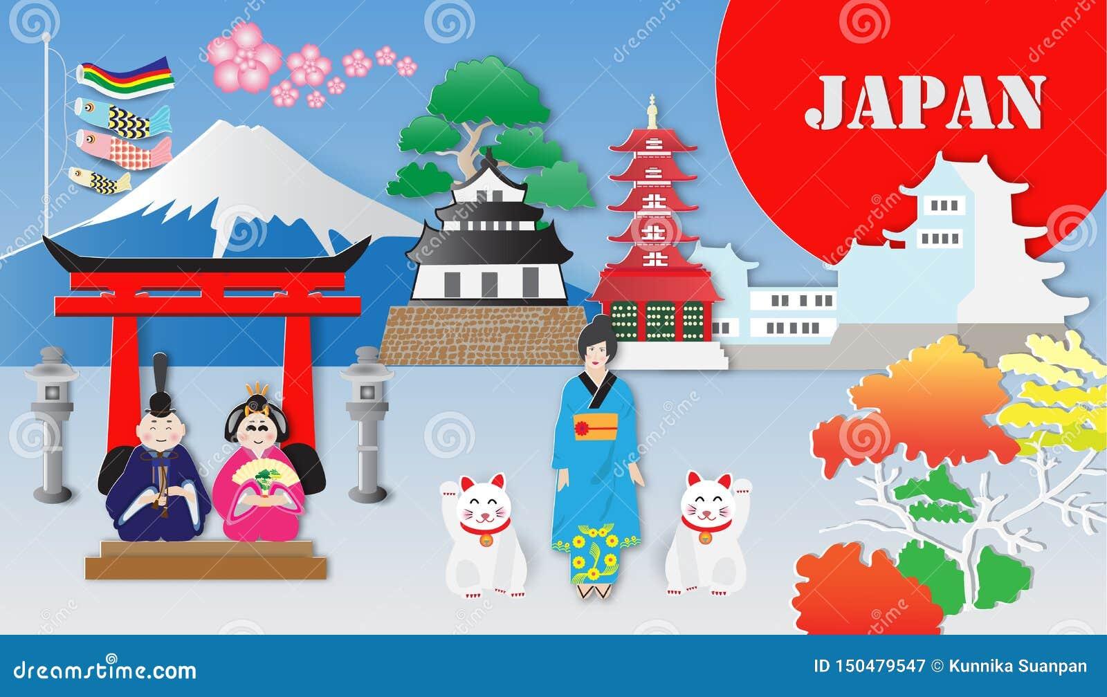 Viaggio del Giappone e la maggior parte dei punti di riferimento famosi, illustrazione di vettore