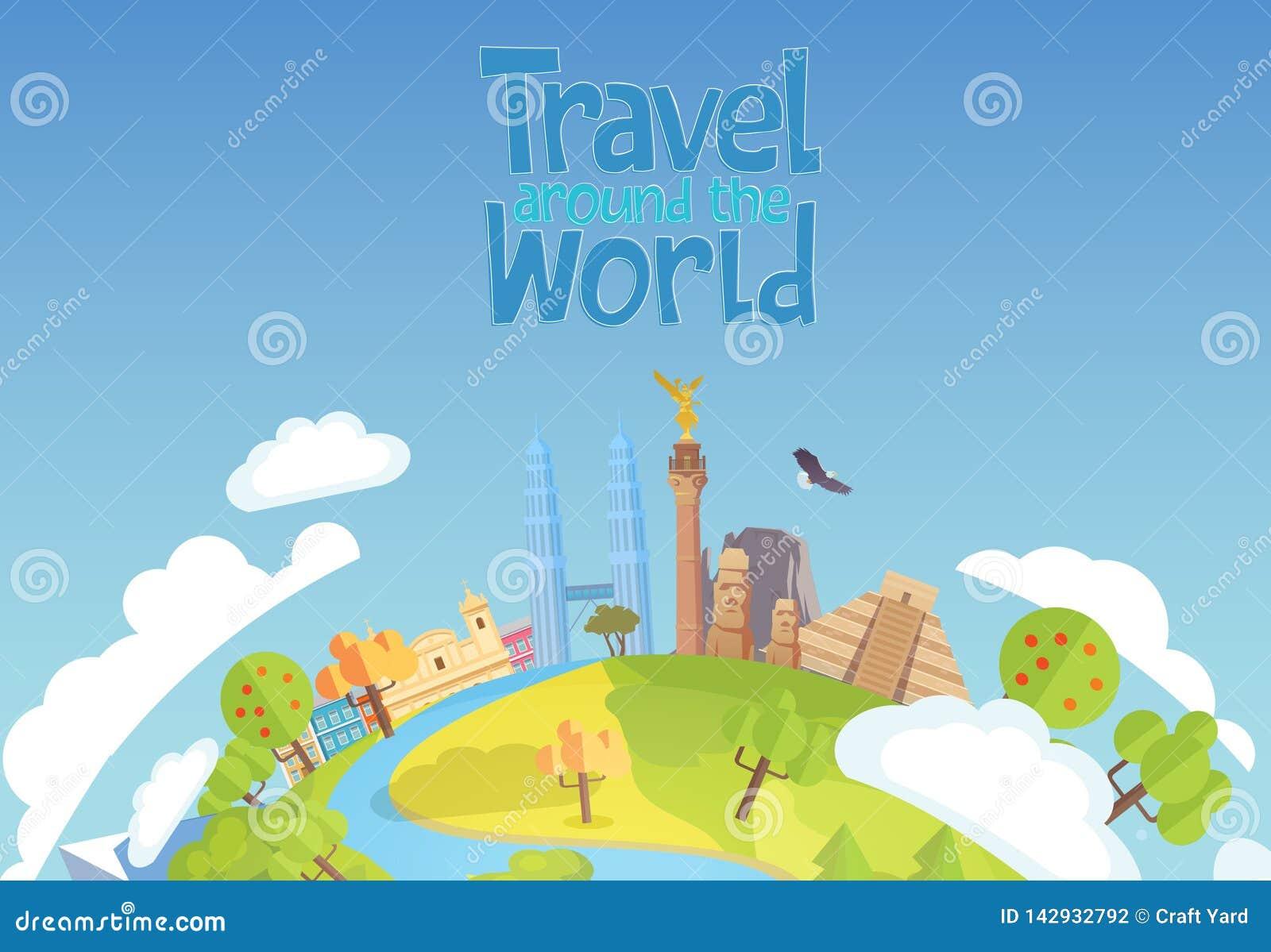 Viaggio intorno ai precedenti blu Messico Singapore di concetto del mondo