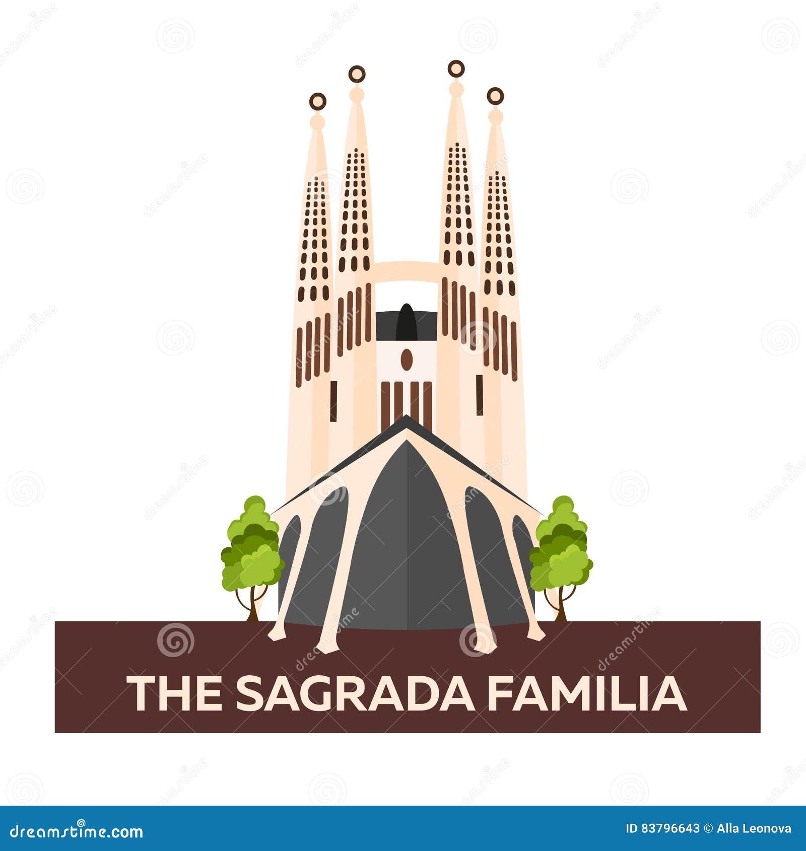 Viaggio in Spagna Sagrada Familia Illustrazione piana di vettore