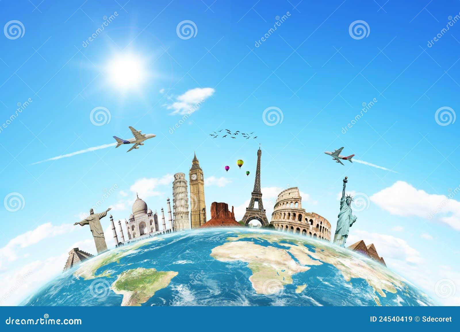 Viaja el concepto de las nubes del mundo