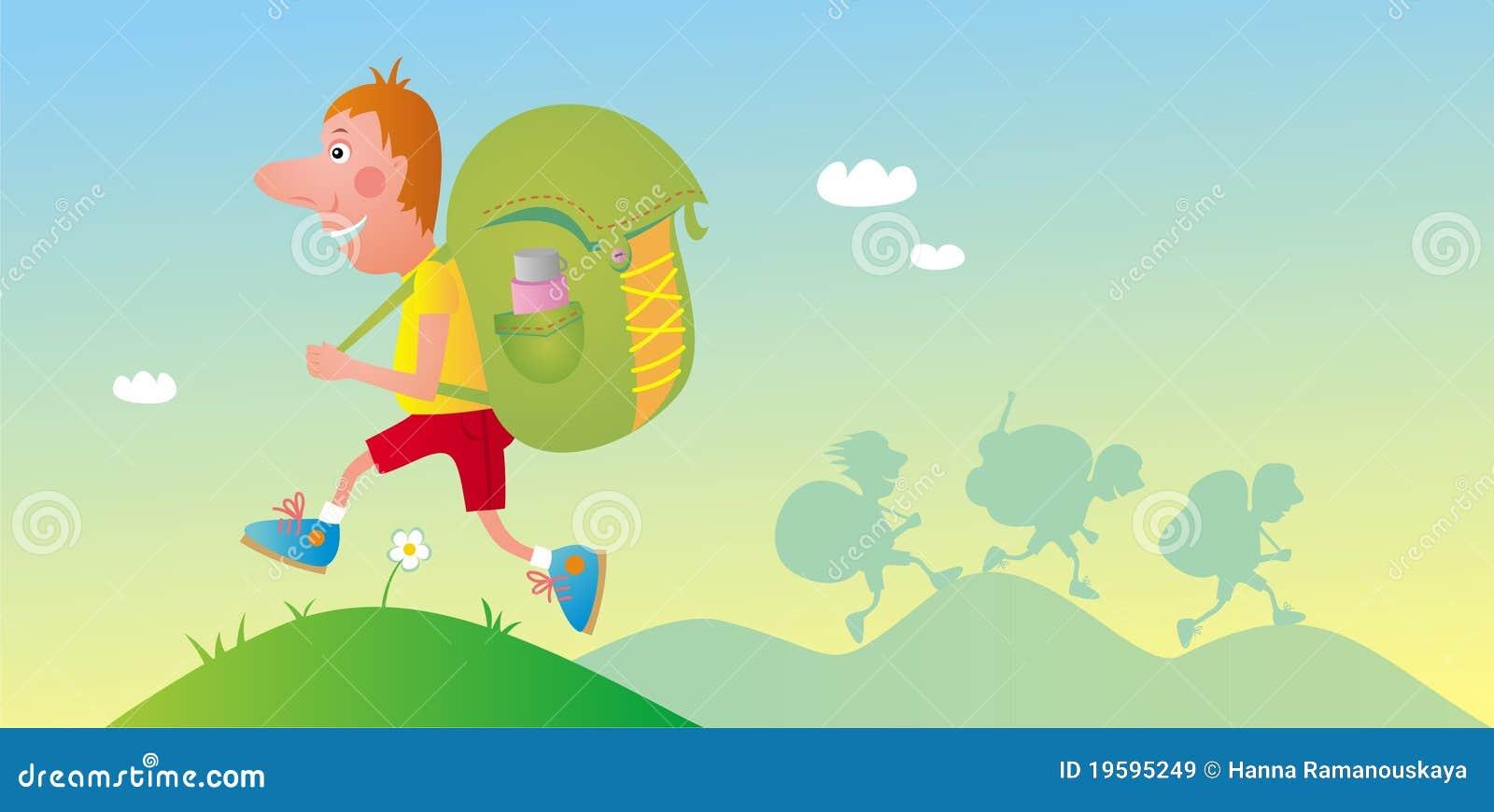 Viajante com knapsack