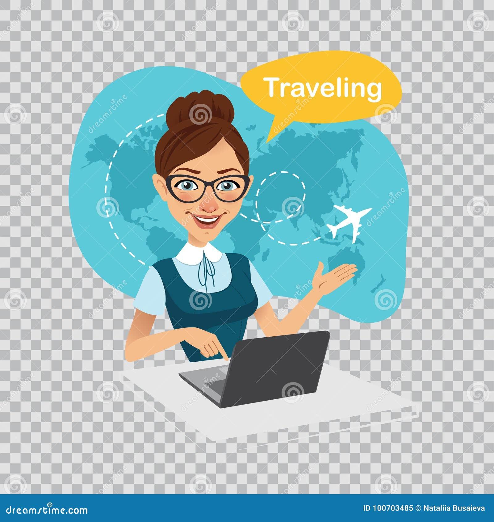 Viaje al mundo viaje al mundo bandera de la agencia de viajes el agente de viajes trabaja en el - Banera de viaje ...
