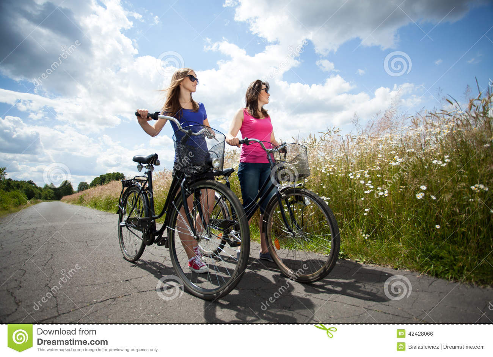 Viaje de la bicicleta durante día soleado