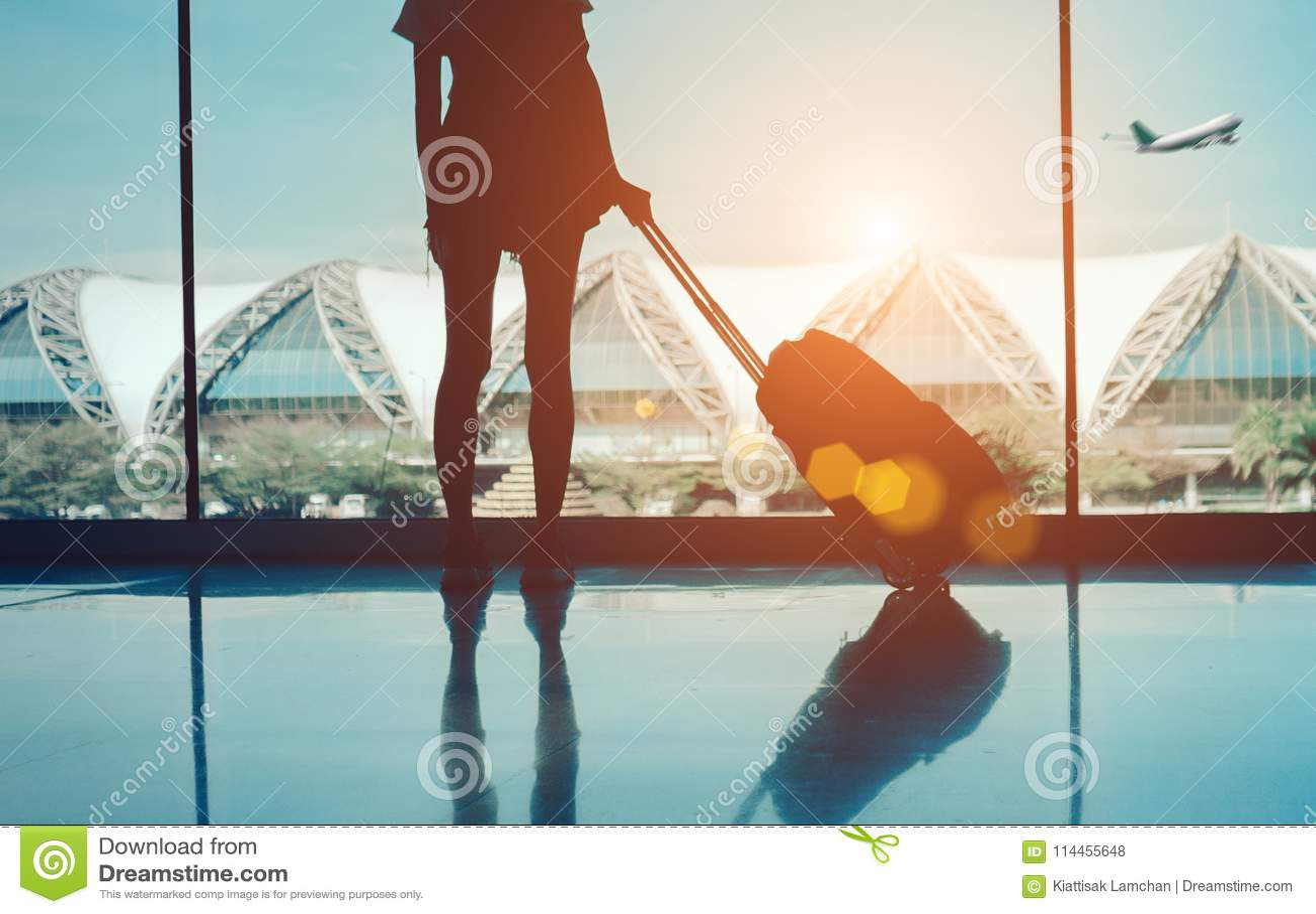Viaje de la mujer de la silueta con el equipaje que mira sin la ventana