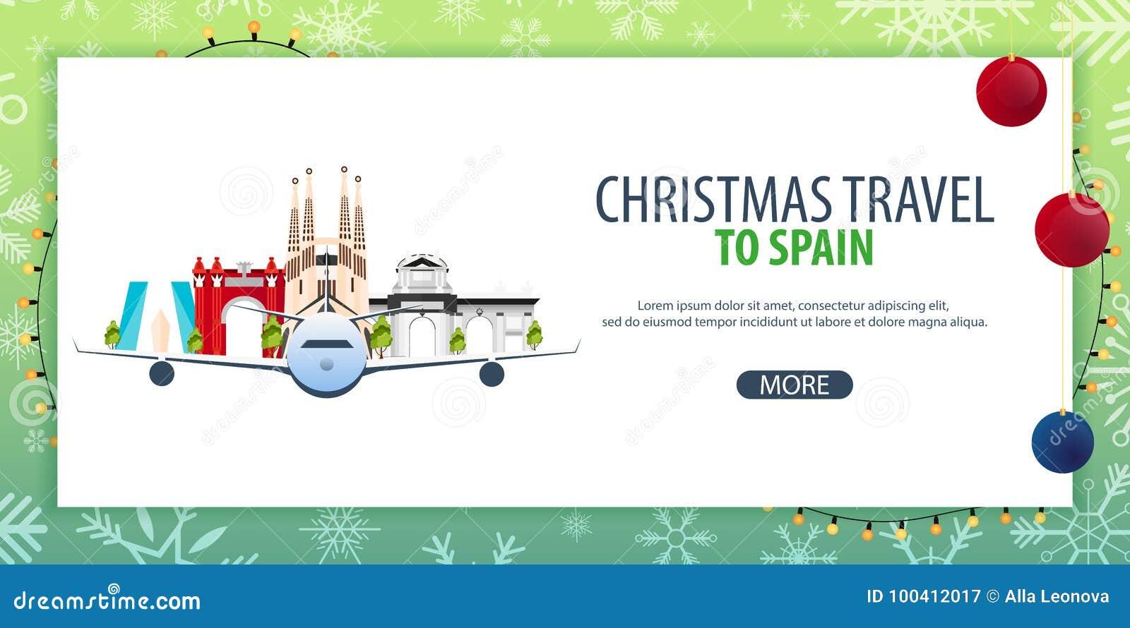 Viaje de la Navidad a España Nieve y rocas del barco Ilustración del vector