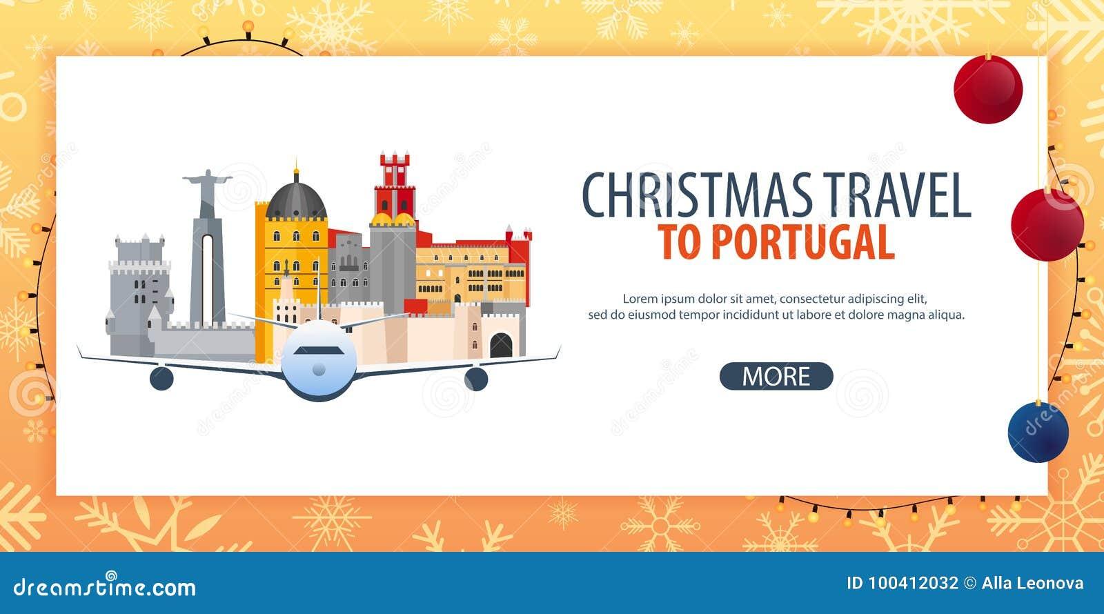 Viaje de la Navidad a Portugal Nieve y rocas del barco Ilustración del vector
