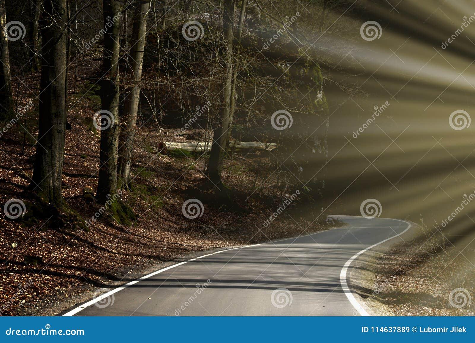 Viaje del misterio Un valle rocoso principal de la carretera con curvas Luz del sol del contraluz