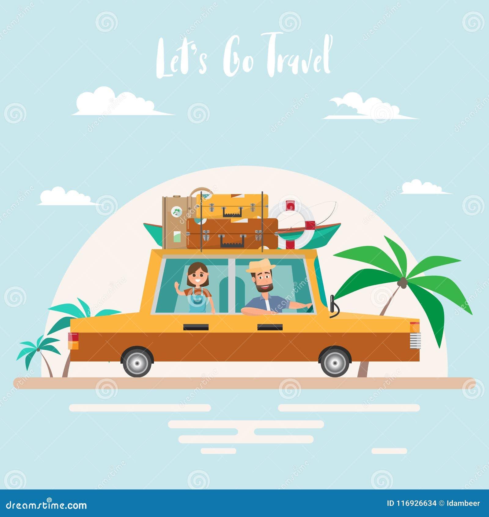 Viaje Del Verano Viaje De La Familia En La Playa El