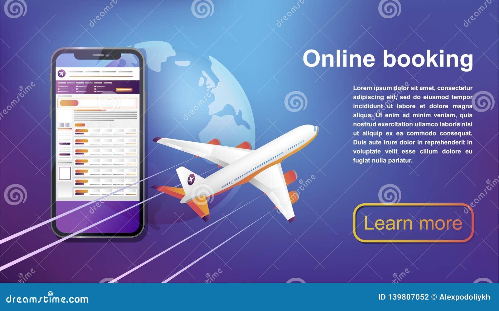 Viaje en línea de reservación de los vuelos Compre el boleto en línea Ilustración del vector