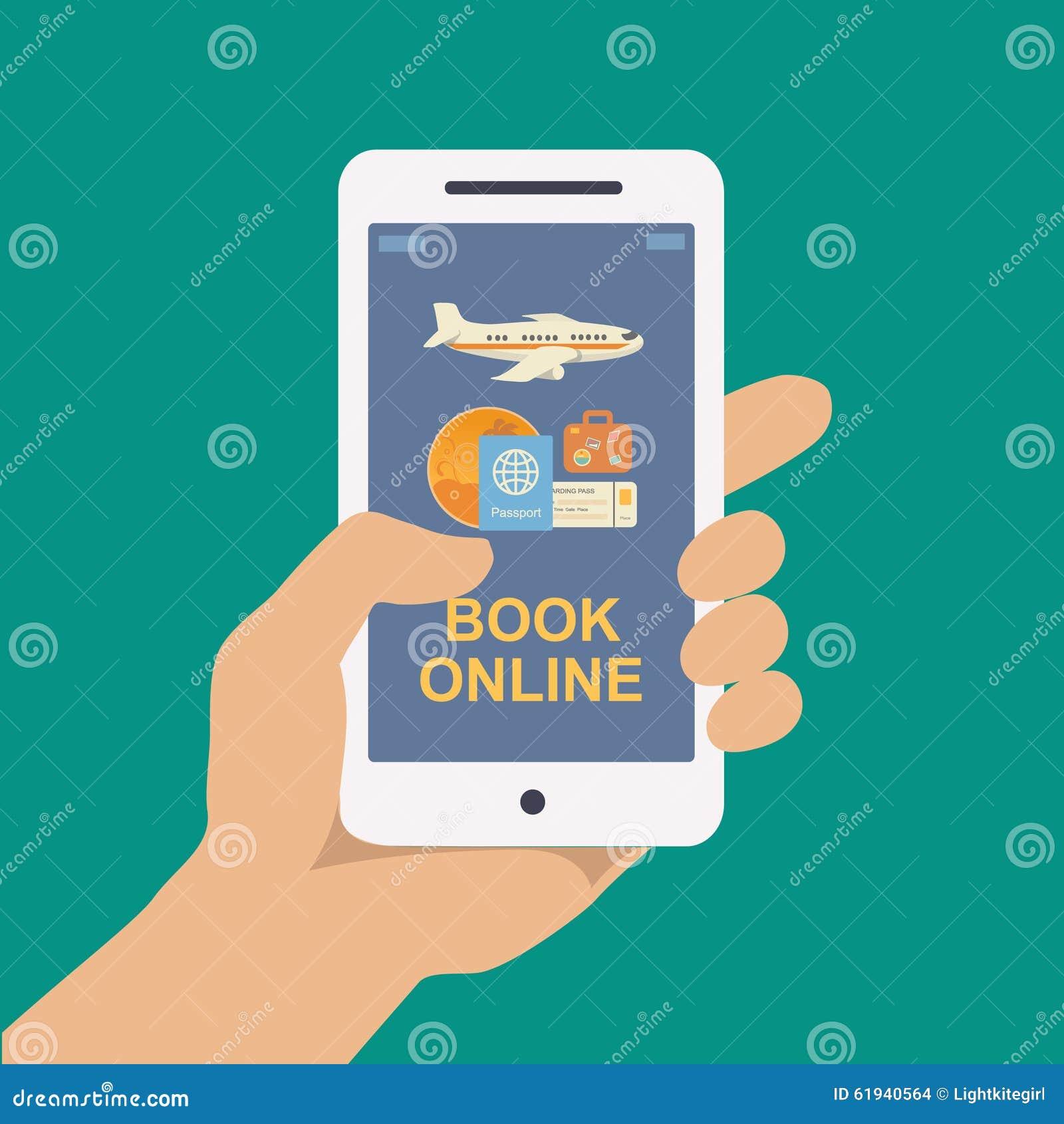 Viaje en línea de reservación o boleto