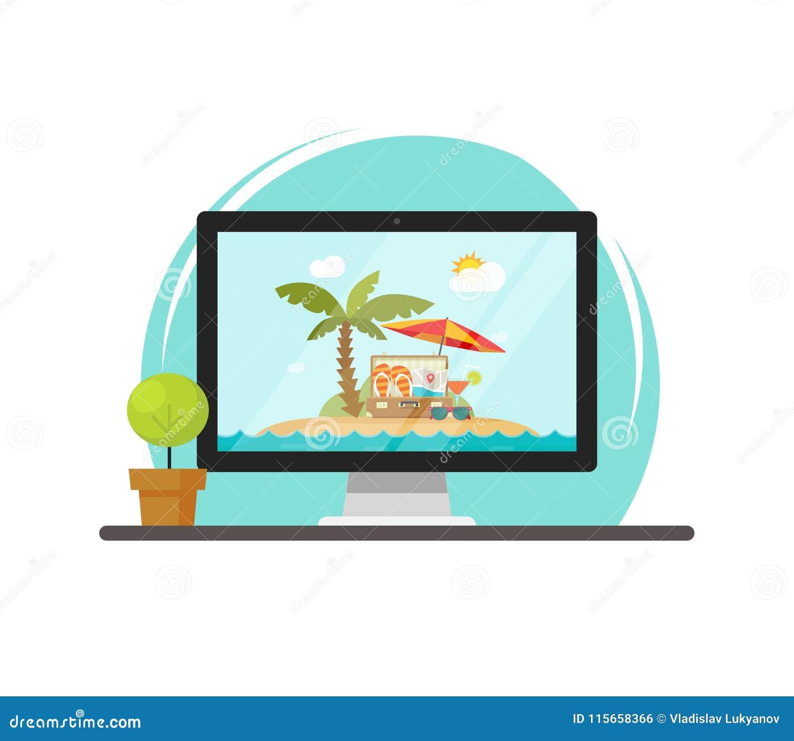 Viaje en línea vía el ejemplo del vector del ordenador, concepto de viaje en línea y reservación del viaje vía la PC, historieta
