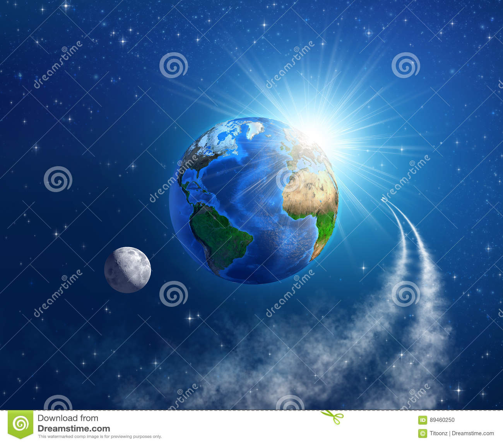 Viaje espacial alrededor de la tierra