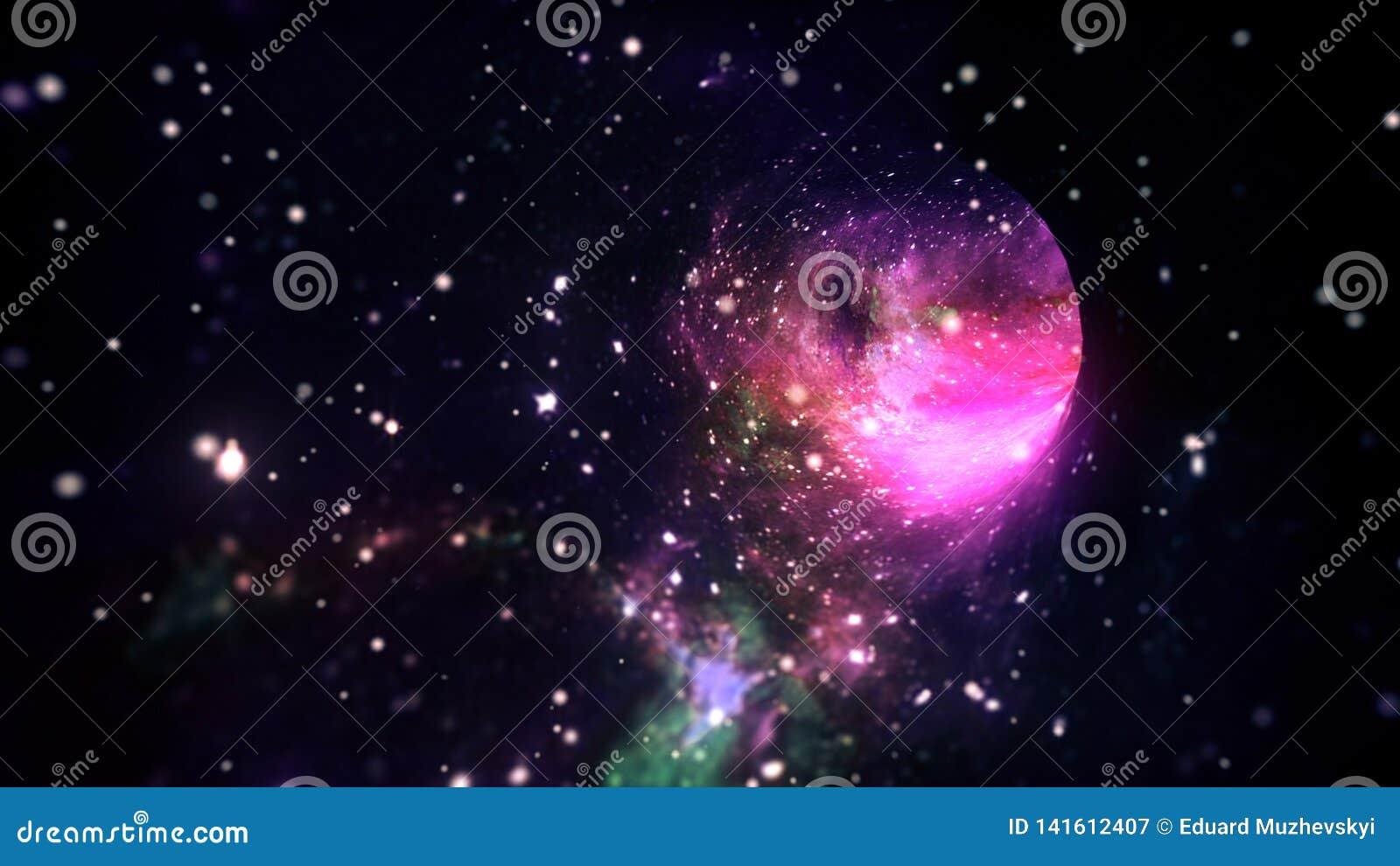 Viaje espacial lightspeed interestelar en portal hyperspace del wormhole con las estrellas